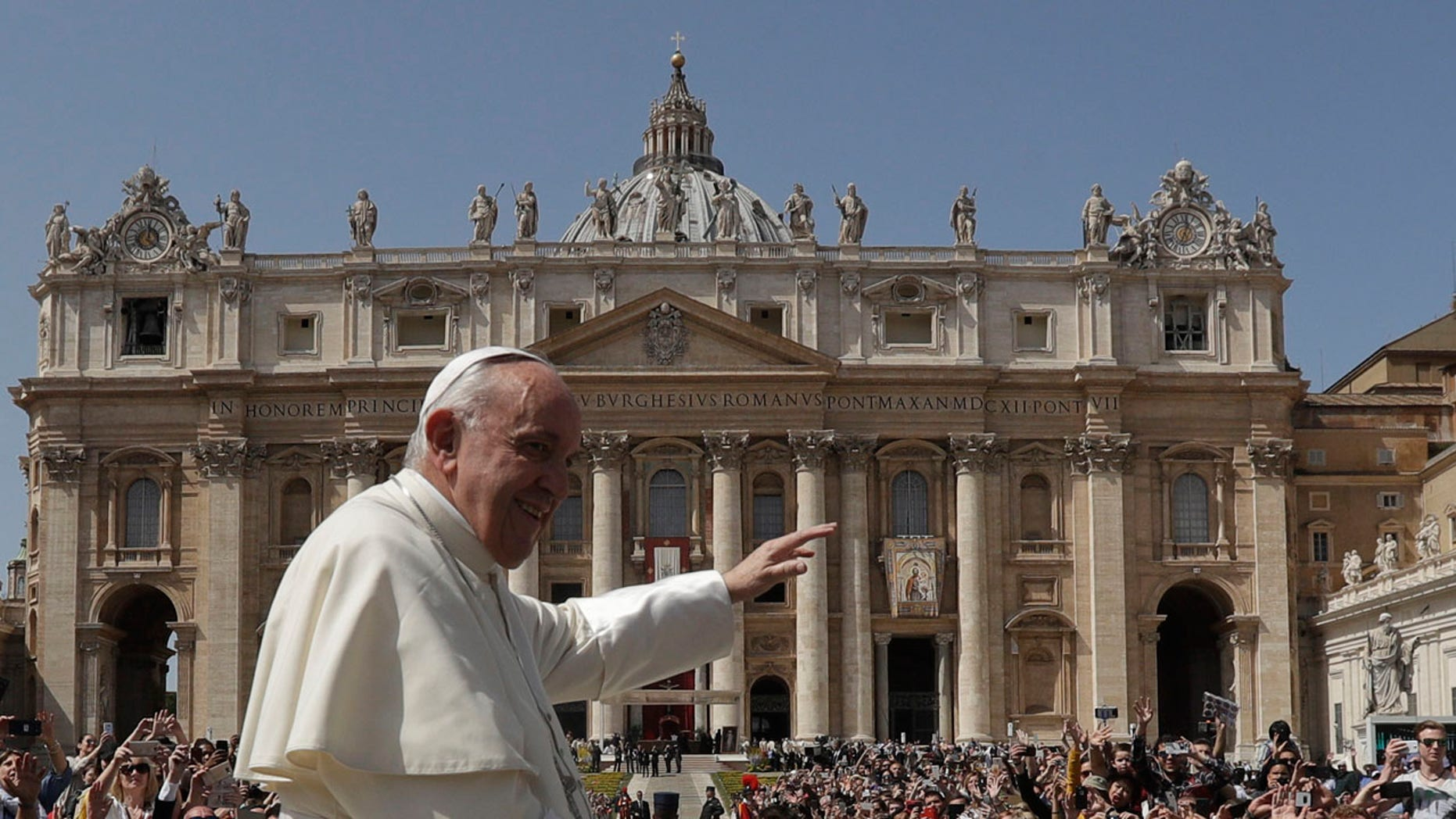 Pope Francis leaves St. Peter's Square at the Vatican after an April 8 Mass on the Sunday of Divine Mercy.
