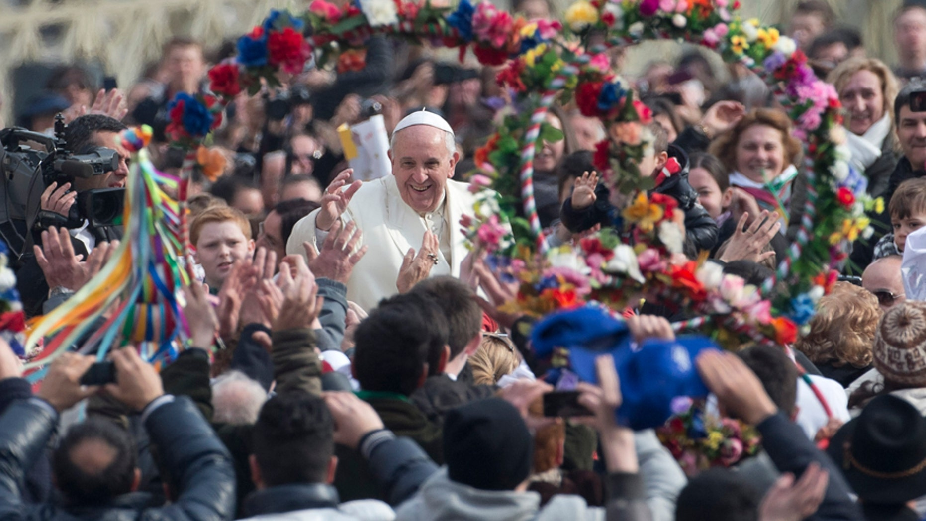 Pope Francis is cheered as he is driven through the crowd ahead of his weekly general audience in St. Peter's Square, at the Vatican, Wednesday, Feb. 26, 2014.