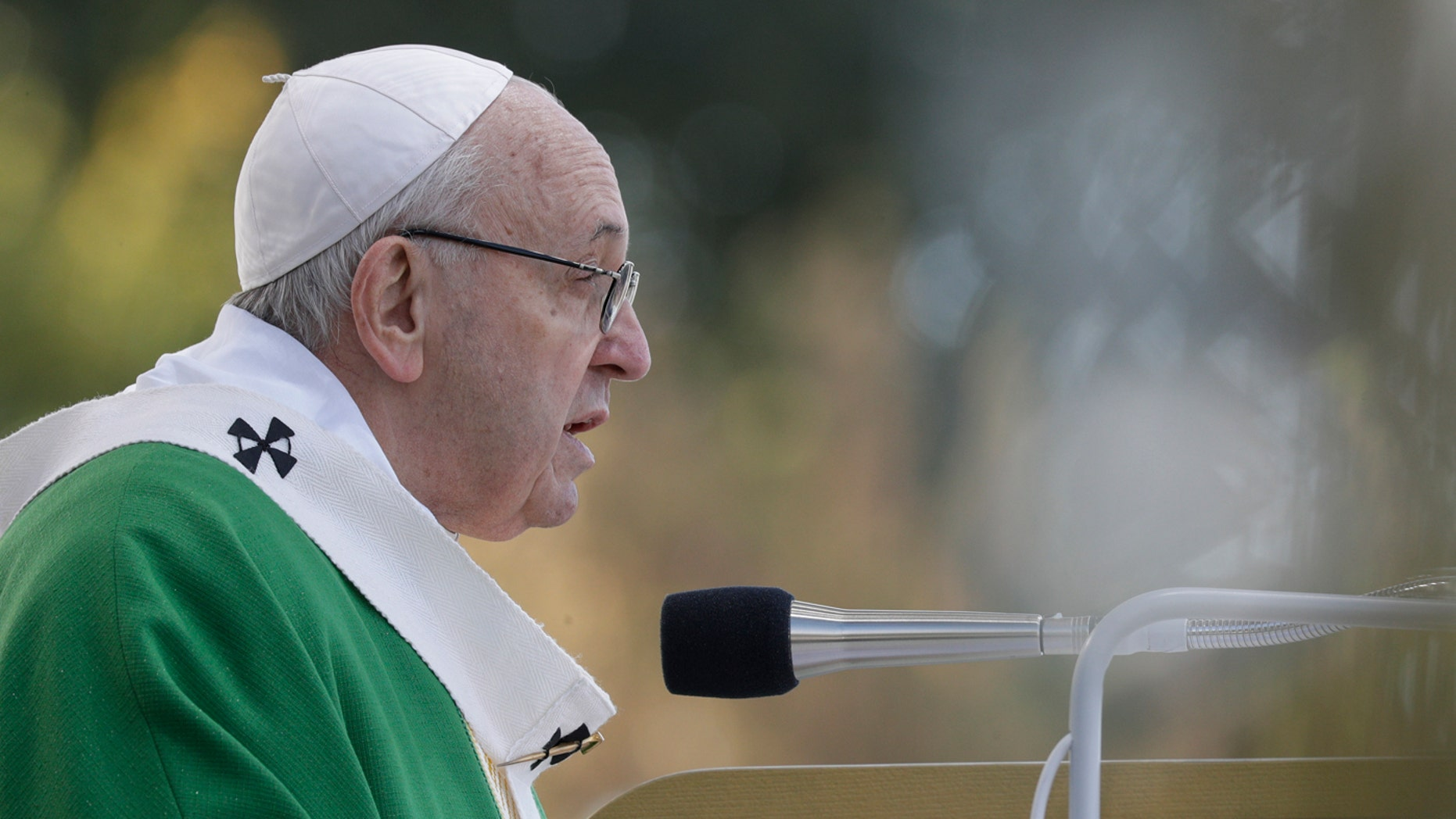 Pope Francis delivers his message as he celebrates Mass at the Santakos Park, in Kaunas, Lithuania, Sunday, Sept. 23, 2018.