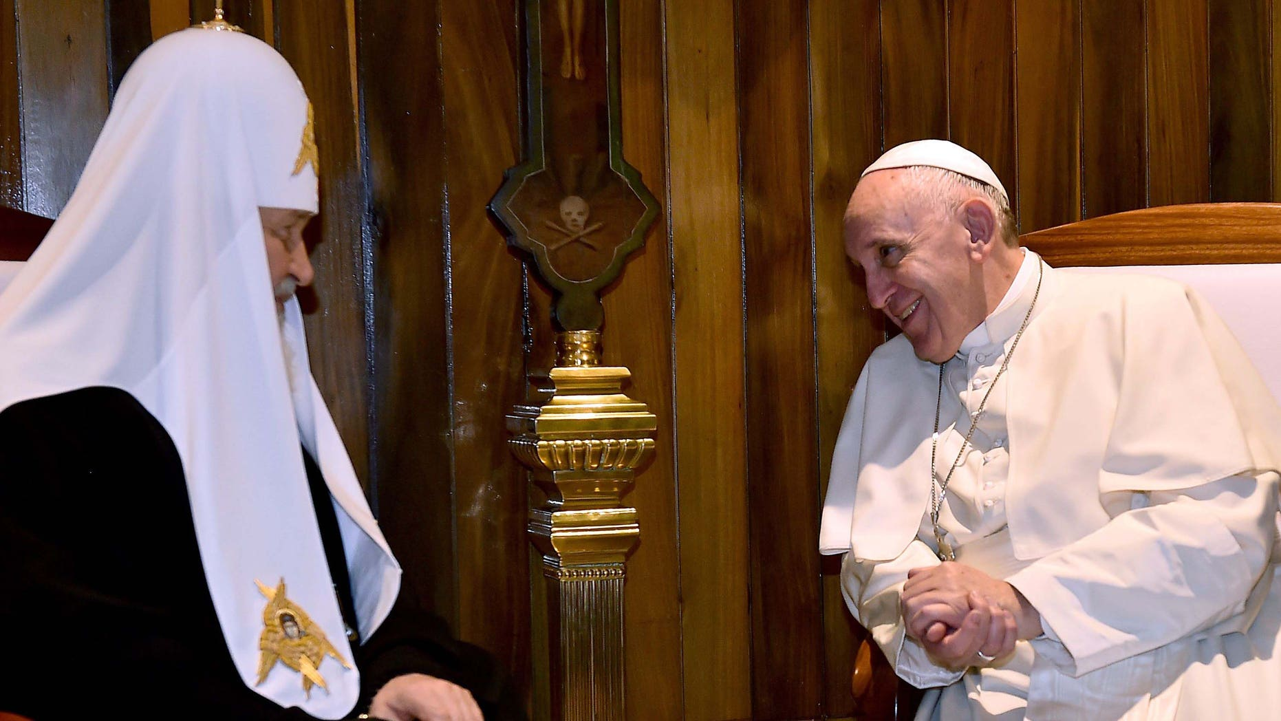 Pope Francis (R) meets with the head of the Russian Orthodox Church, Patriarch Kirill, in Havana on February 12, 2016. The meeting is the first of its kind since an 11th-century schism split Christianity into Western and Eastern branches. AFP PHOTO / GABRIEL BOUYS / AFP / GABRIEL BOUYS        (Photo credit should read GABRIEL BOUYS/AFP/Getty Images)