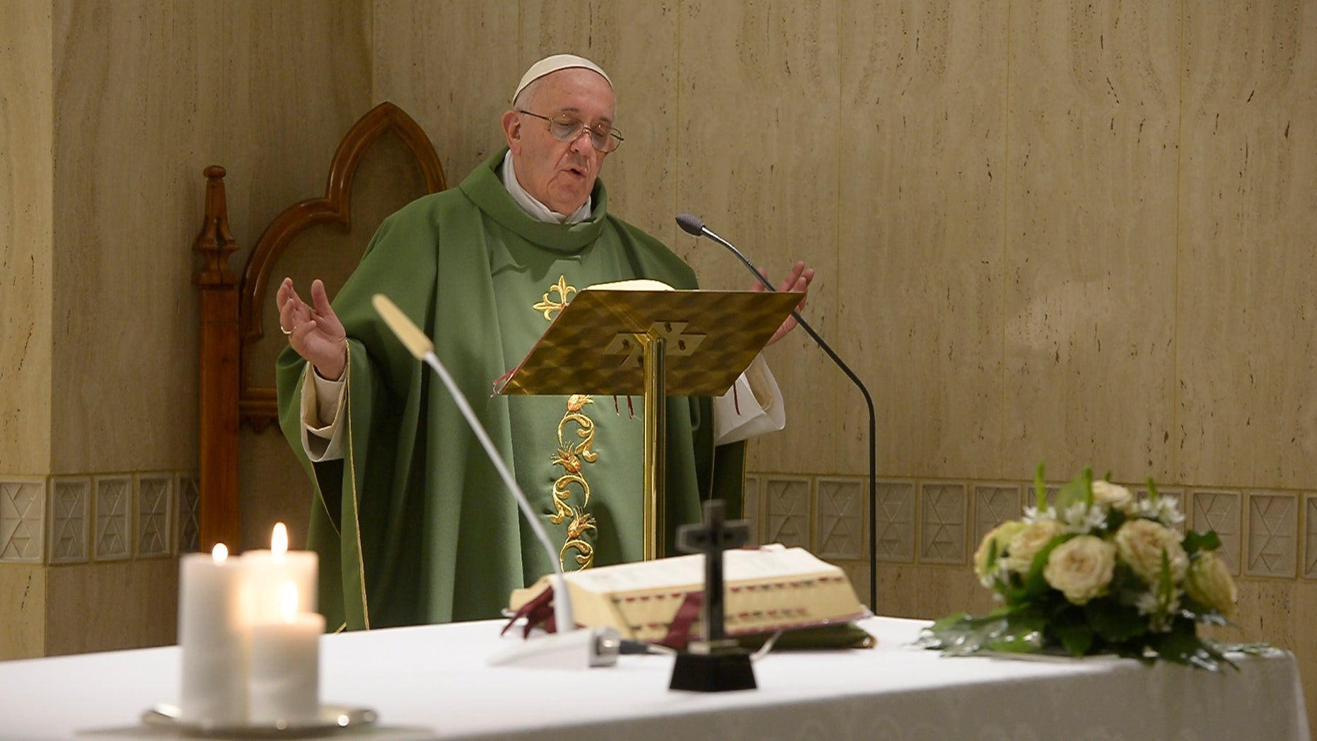 """Pope Francis celebrates a mass at the Vatican's Santa Marta hotel, Friday, Nov. 6, 2015.  The pontiff says it is """"sad"""" when bishops and priests are """"attached to money"""" and to advancing their careers, in his first public comments following the latest leaked revelations of greedy Vatican prelates resisting his efforts to reform Holy See finances and administration. Francis made the impromptu remarks during his homily Friday, apparently inspired by revelations in two new books of leaked documents and conversations. (L'Osservatore Romano/Pool photo via AP)"""