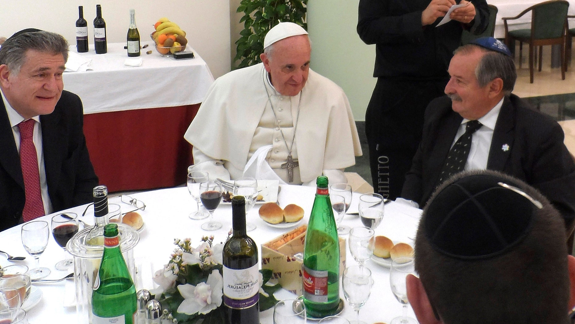 Pope Francis, center, and Rabbi Abraham Skorka, left, have lunch at the Vatican.