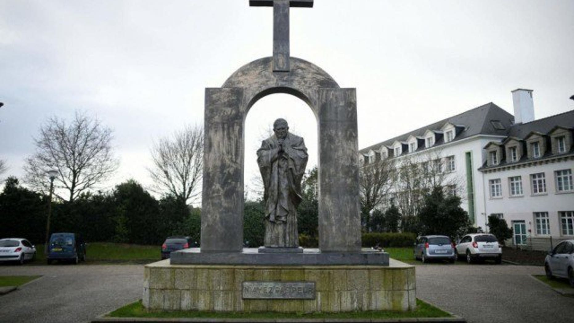 A statue of the late Pope John Paul II in Ploërmel, France.