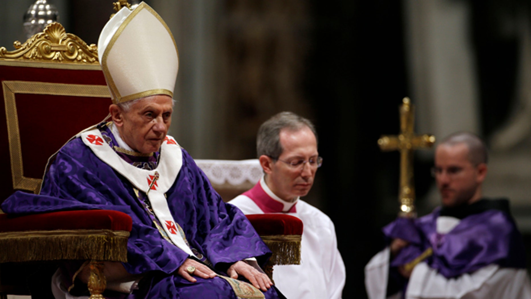 """Feb. 13, 2013: Pope Benedict XVI celebrates the Ash Wednesday mass in St. Peter's Basilica at the Vatican. Ash Wednesday marks the beginning of Lent, a solemn period of 40 days of prayer and self-denial leading up to Easter. Pope Benedict XVI told thousands of faithful Wednesday that he was resigning for """"the good of the church"""", an extraordinary scene of a pope explaining himself to his flock that unfolded in his first appearance since dropping the bombshell announcement."""