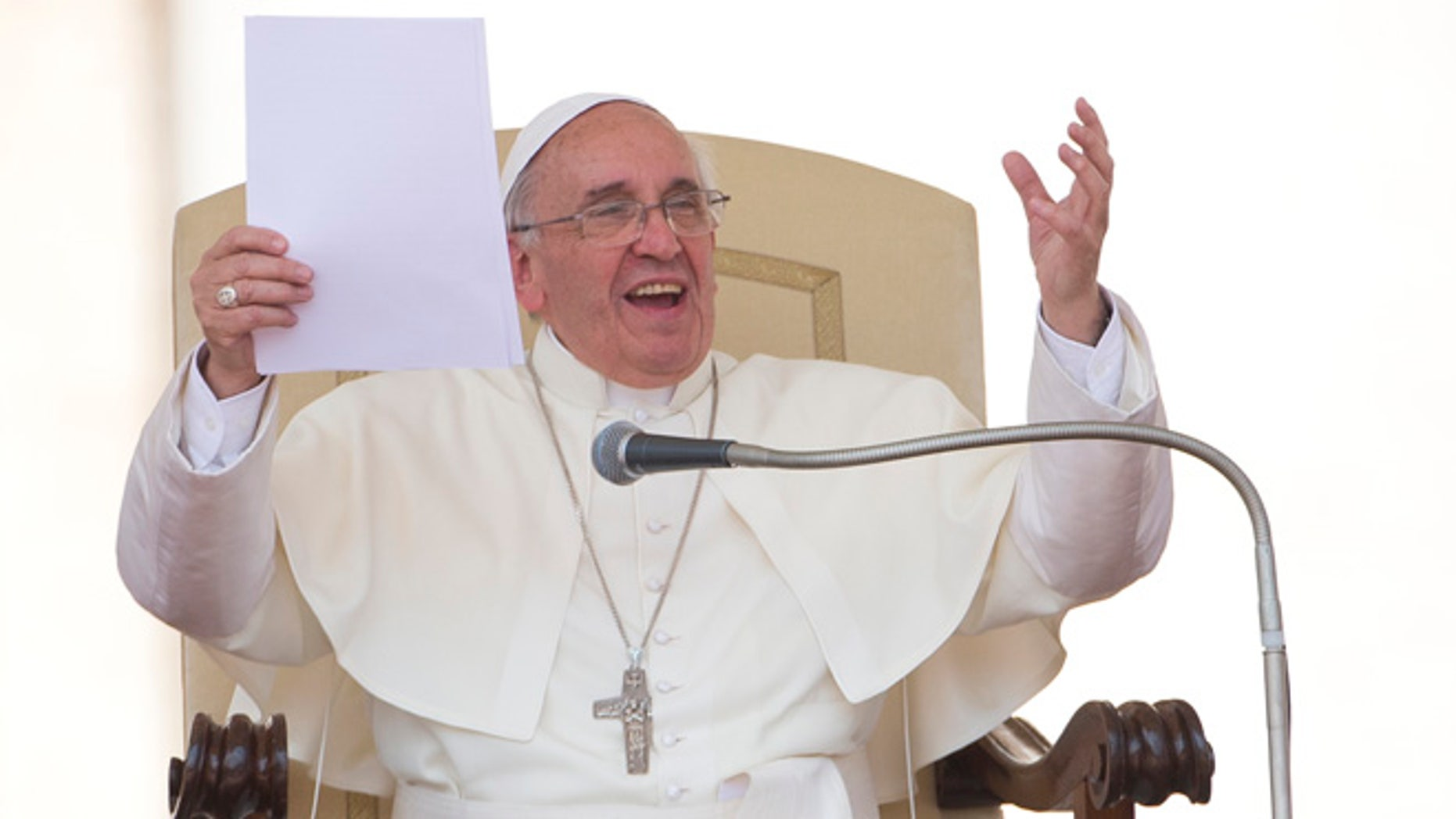 June 26, 2013: Pope Francis delivers his speech in St. Peter's square at the Vatican during his weekly general audience.
