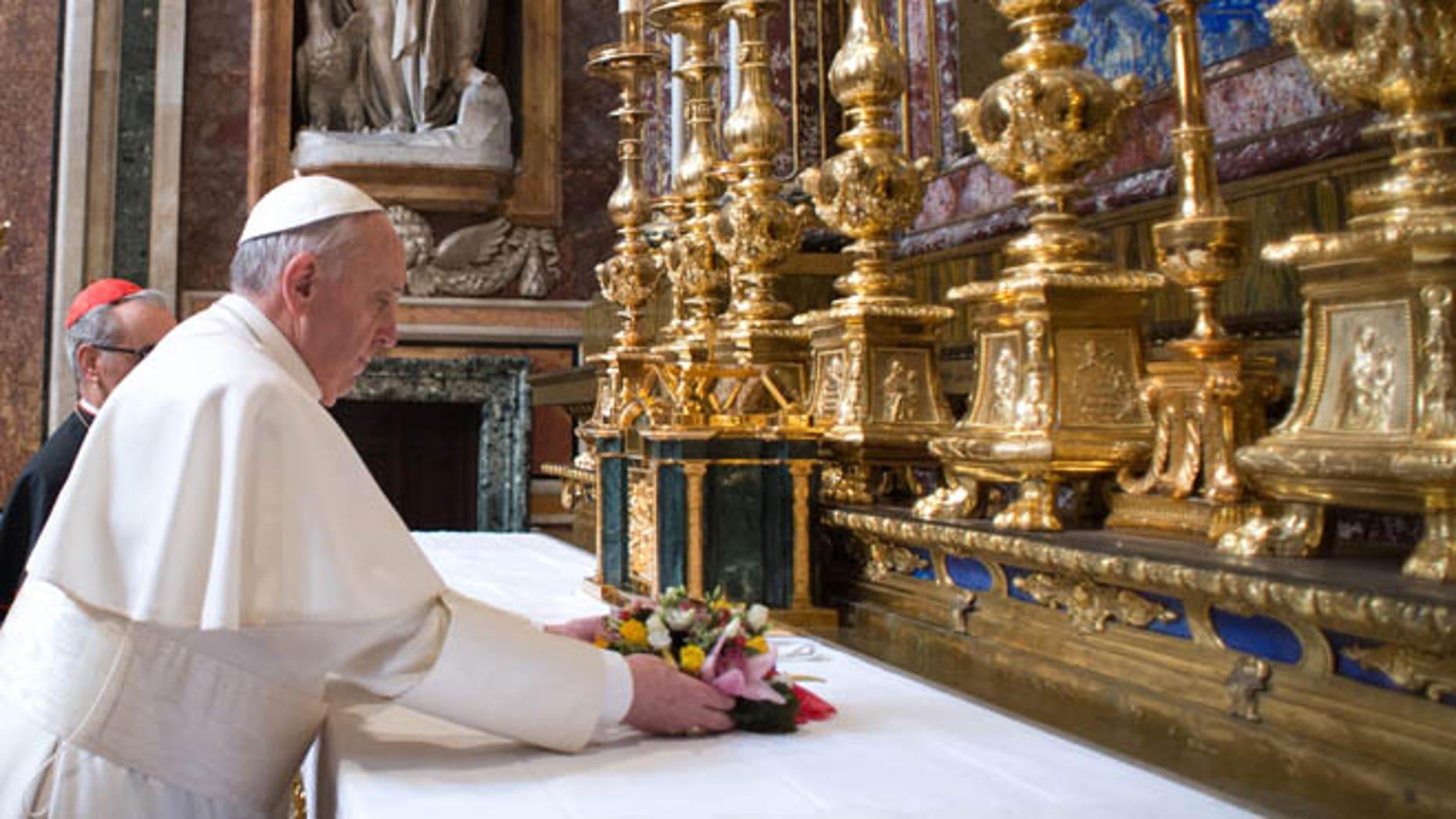 March 14, 2013: Pope Francis makes a private visit to the 5th-century Basilica of Santa Maria Maggiore in Rome.