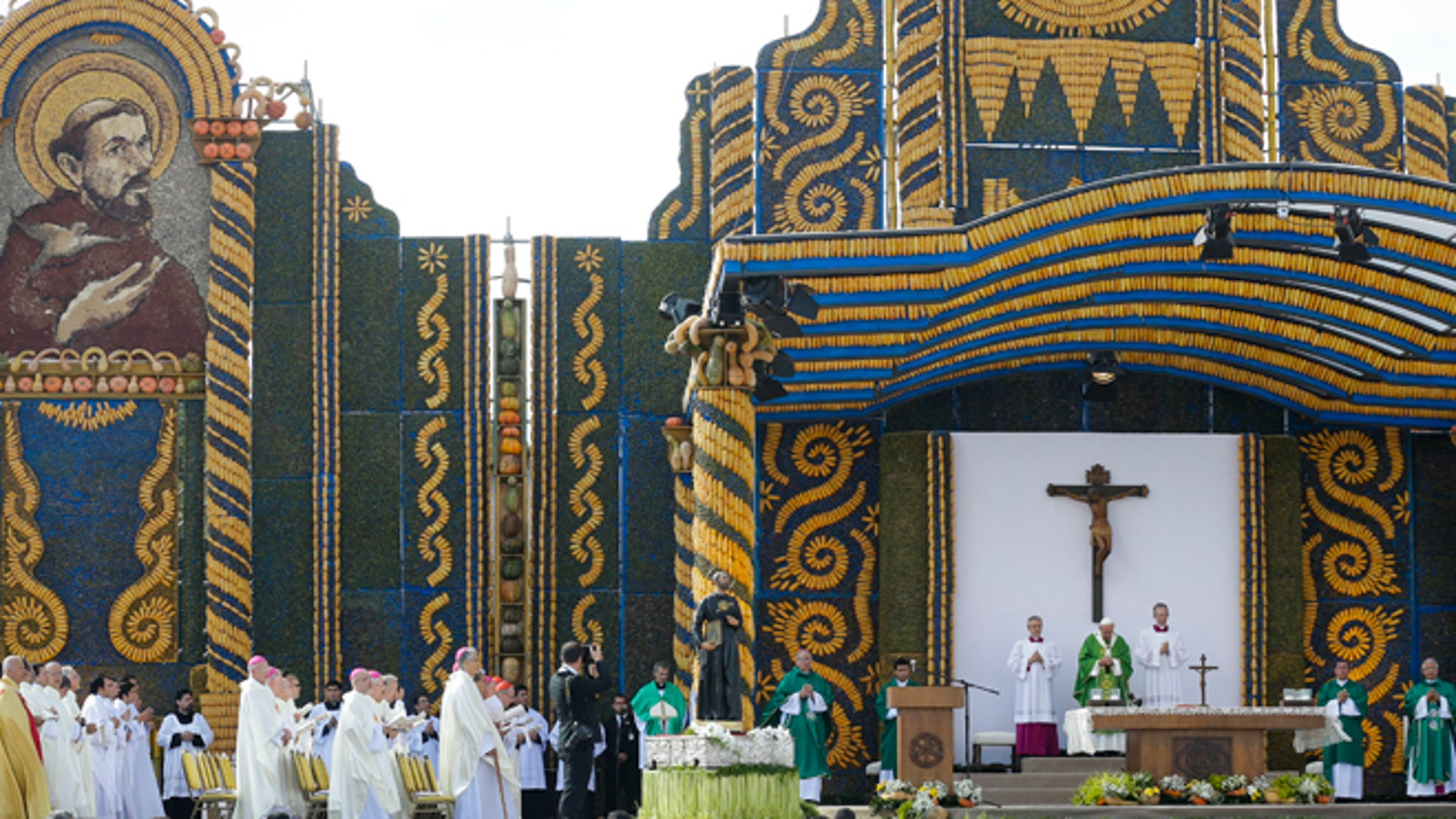 July 12, 2015: Pope Francis celebrates mass in Asuncion, Paraguay.