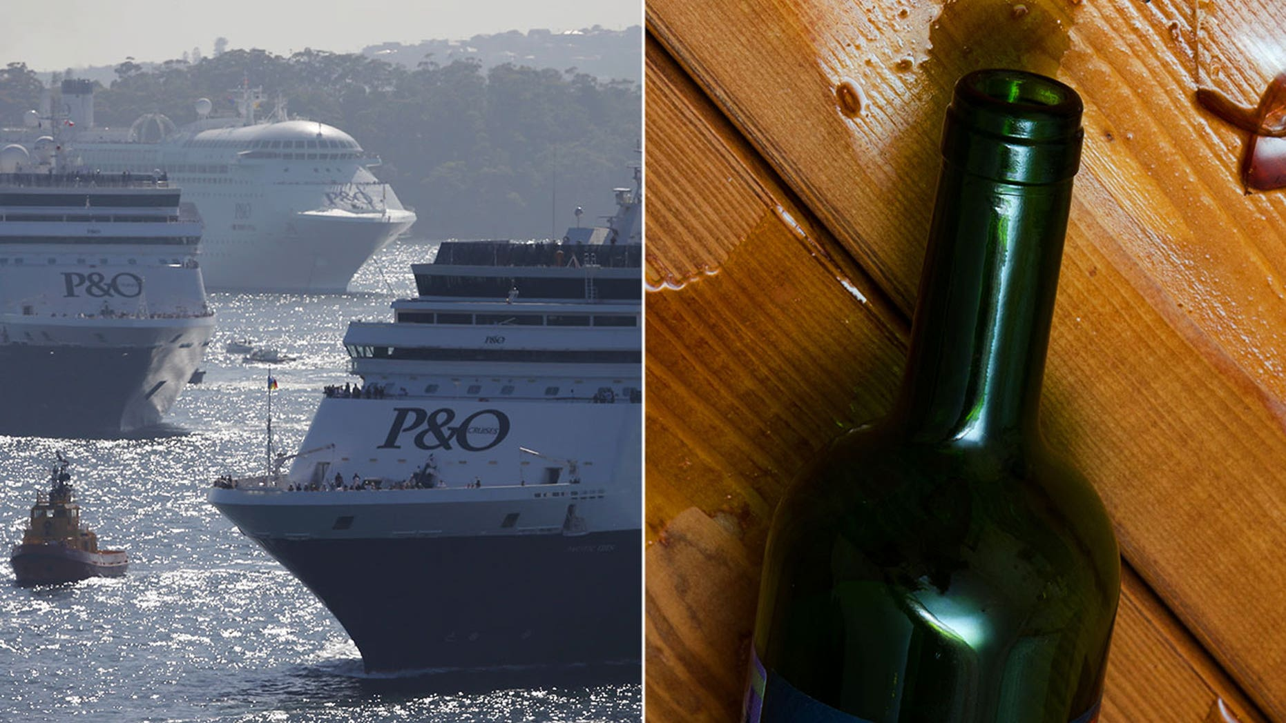 A 37-year-old woman aboard the Pacific Explorer allegedly smacked a 21-year-old man over the head with an empty wine bottle during a fight on Saturday night.