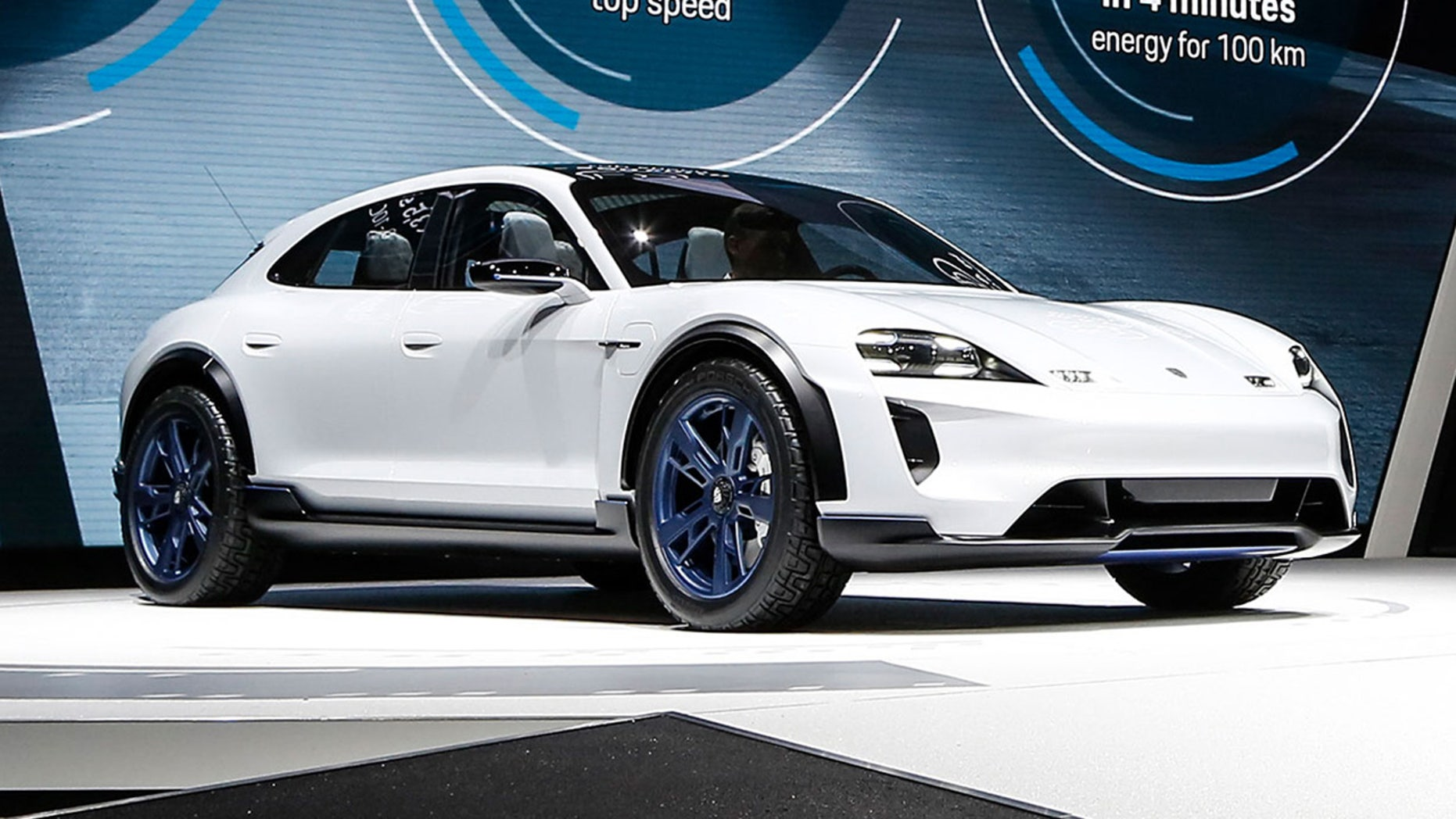 The Porsche Mission E Cross Turismo is an all-terrain electric wagon.