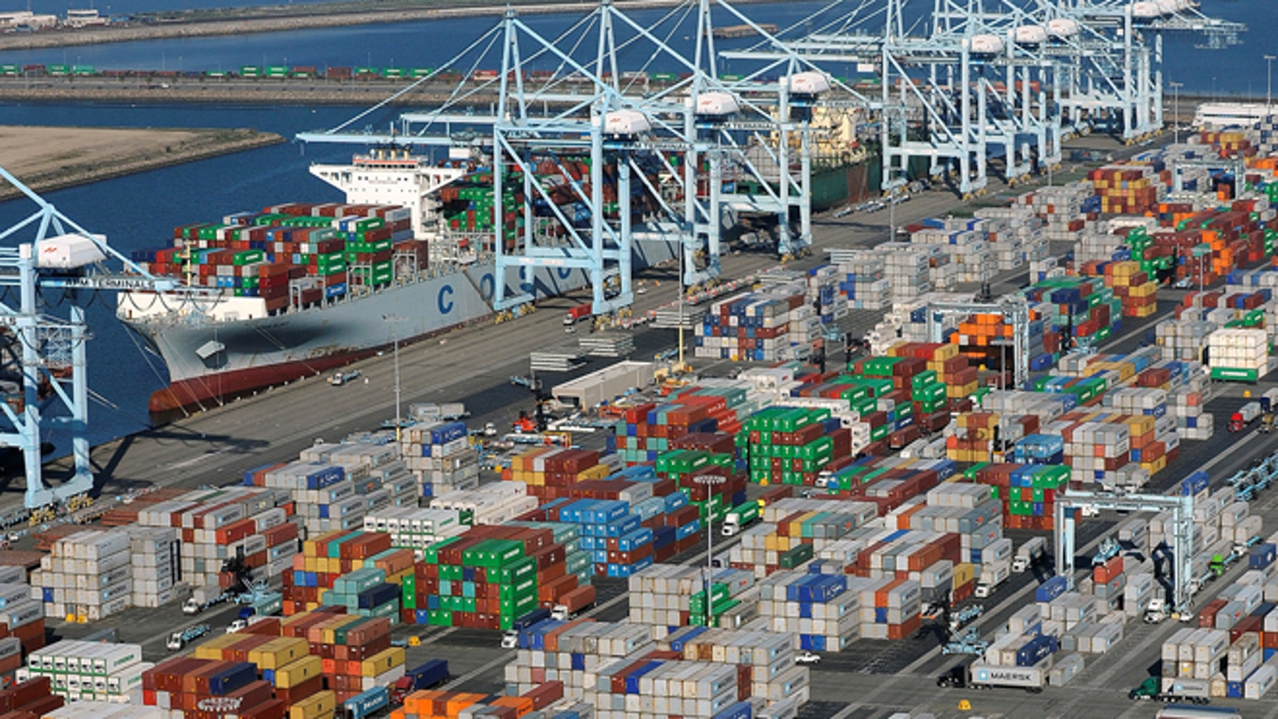 Shipping containers at the ports of Los Angeles and Long Beach, California.
