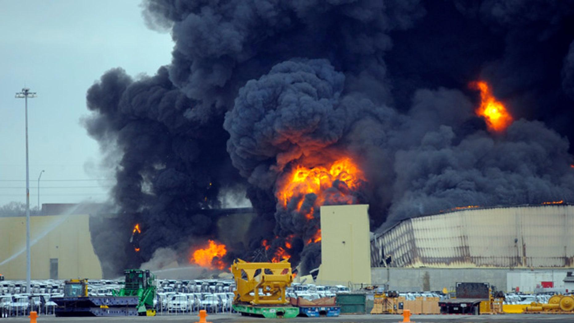 Feb. 8, 2014: Firefighters battle a blaze in a warehouse at the Georgia Ports Authority Ocean Terminal in Savannah, Ga.