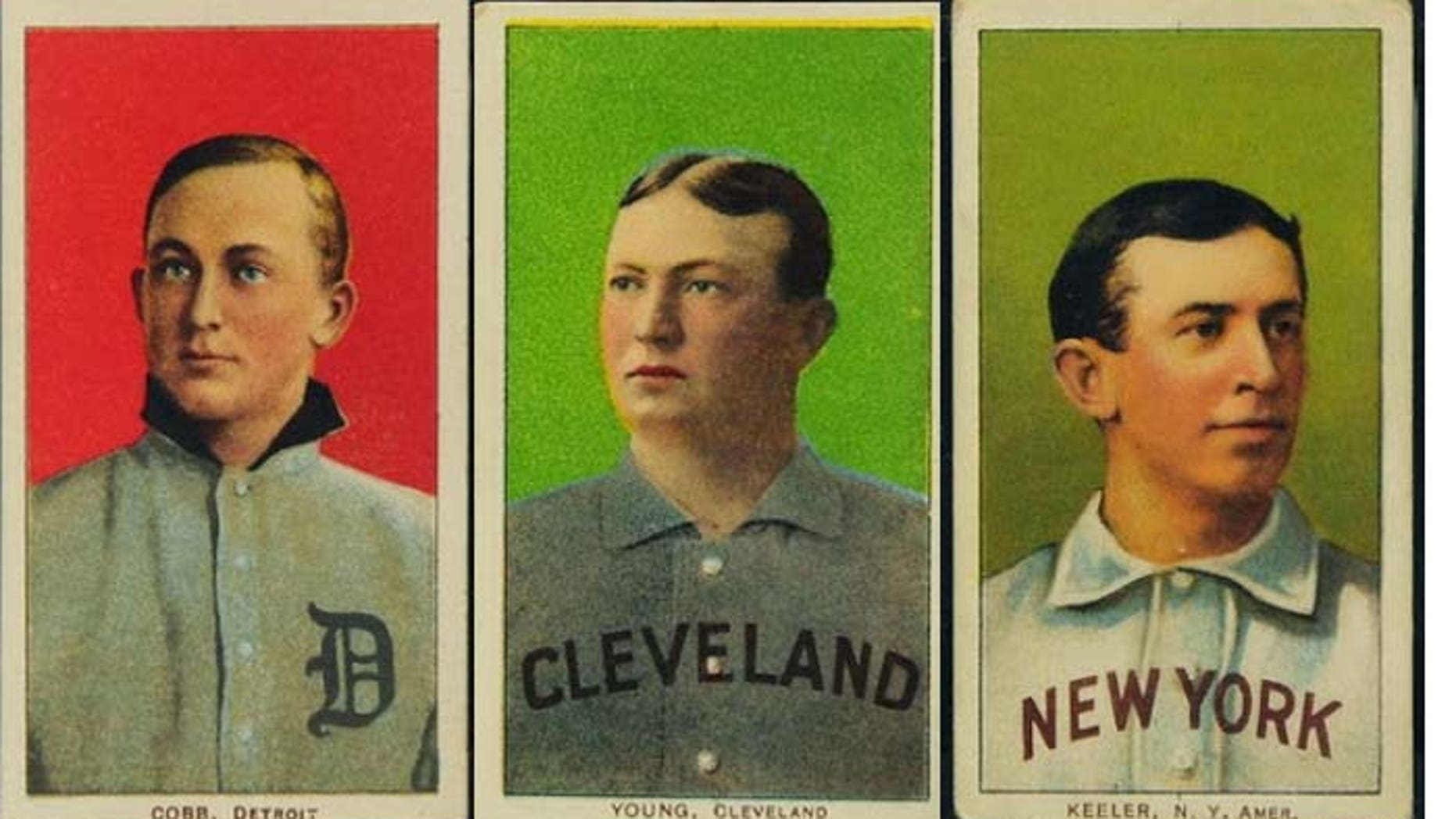 """Among the early 20th Century baseball cards sold in the first phase of the """"Portland trove"""" auction were these Hall of Famers, from left: Ty Cobb, Cy Young and Willie Keeler. (Saco River Auctions)"""