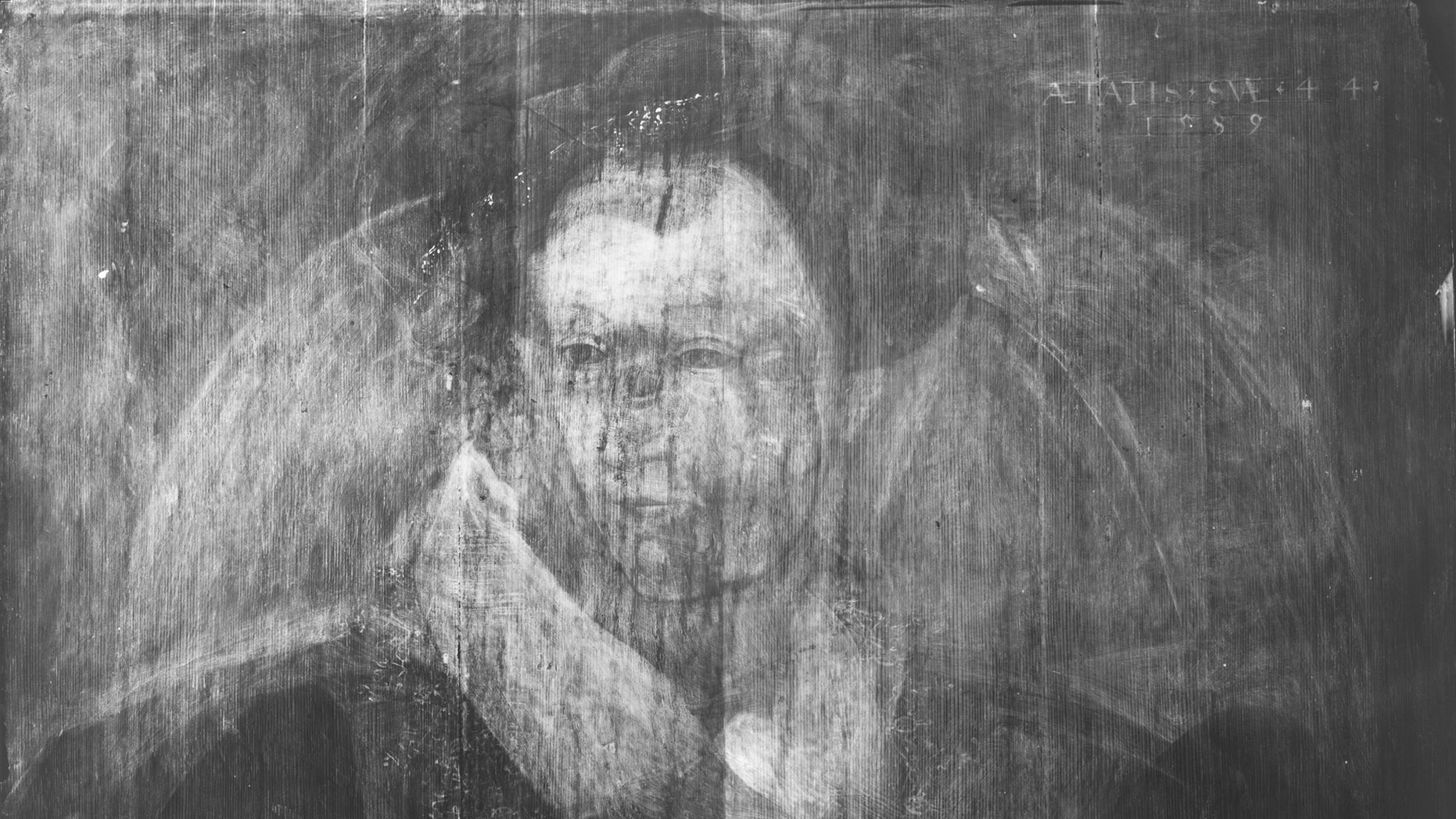 X-ray view of Adrian Vanson's portrait of Sir John Maitland that shows the ghostly outline of a hidden portrait of Mary, Queen of Scots (courtesy National Galleries of Scotland).