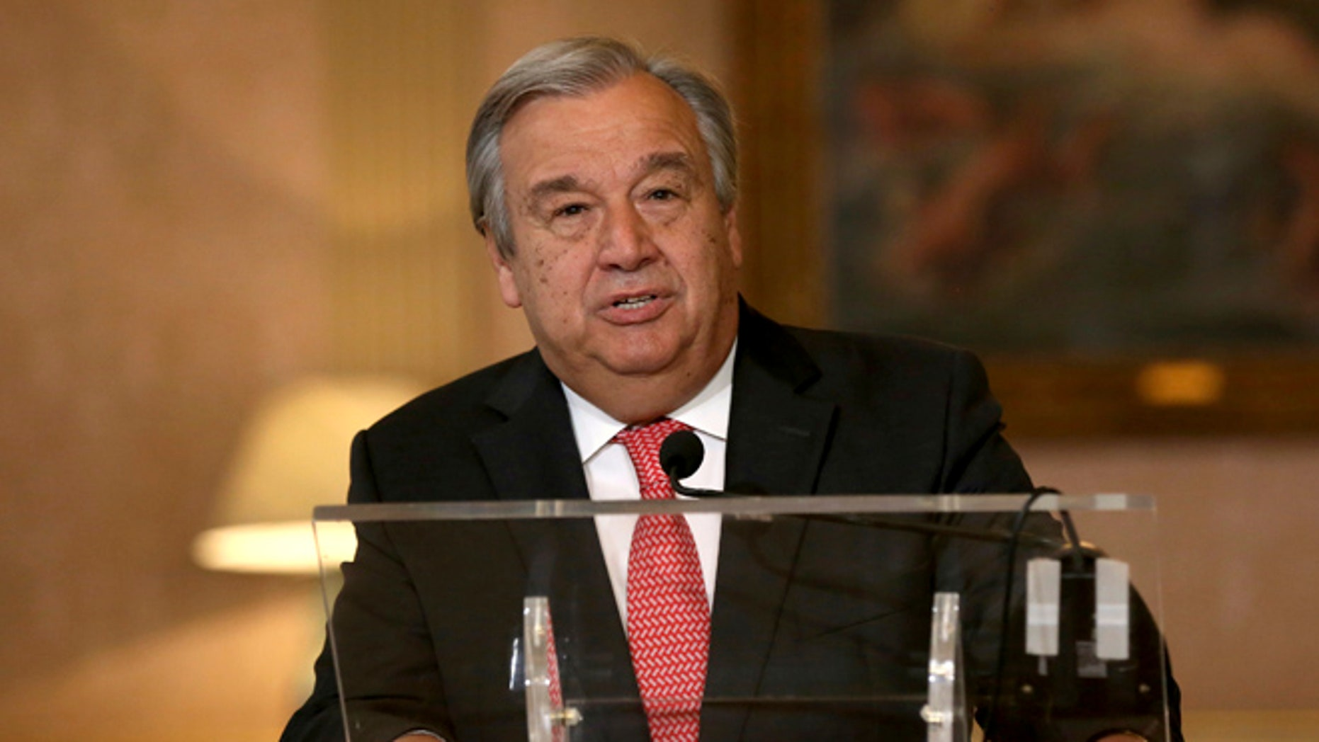 U.N. Secretary-General Antonio Guterres speaks on Oct. 6, 2016.