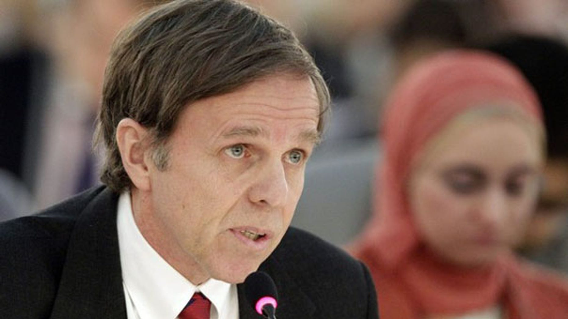 FILE: Michael Posner, assistant secretary of state, is shown discussing Iran at the United Nations European headquarters in Geneva Feb. 15. (Reuters Photo)