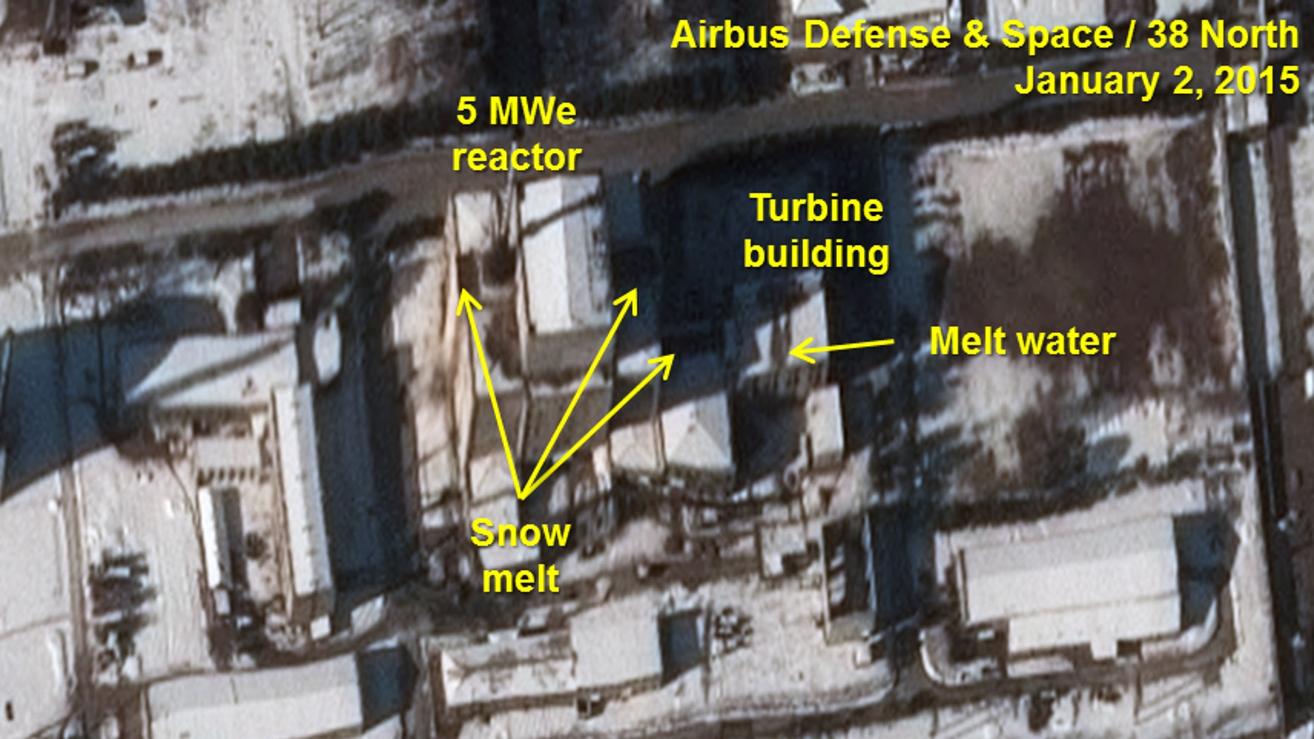 Jan. 2, 2015:  U.S.-Korea Institute at the Johns Hopkins School of Advanced International Studies shows an annotated satellite photo indicating signs of new activity at the 5 MWe Plutonium Production Reactor at North Korea's Nyongbyon Nuclear Scientific Research Center.