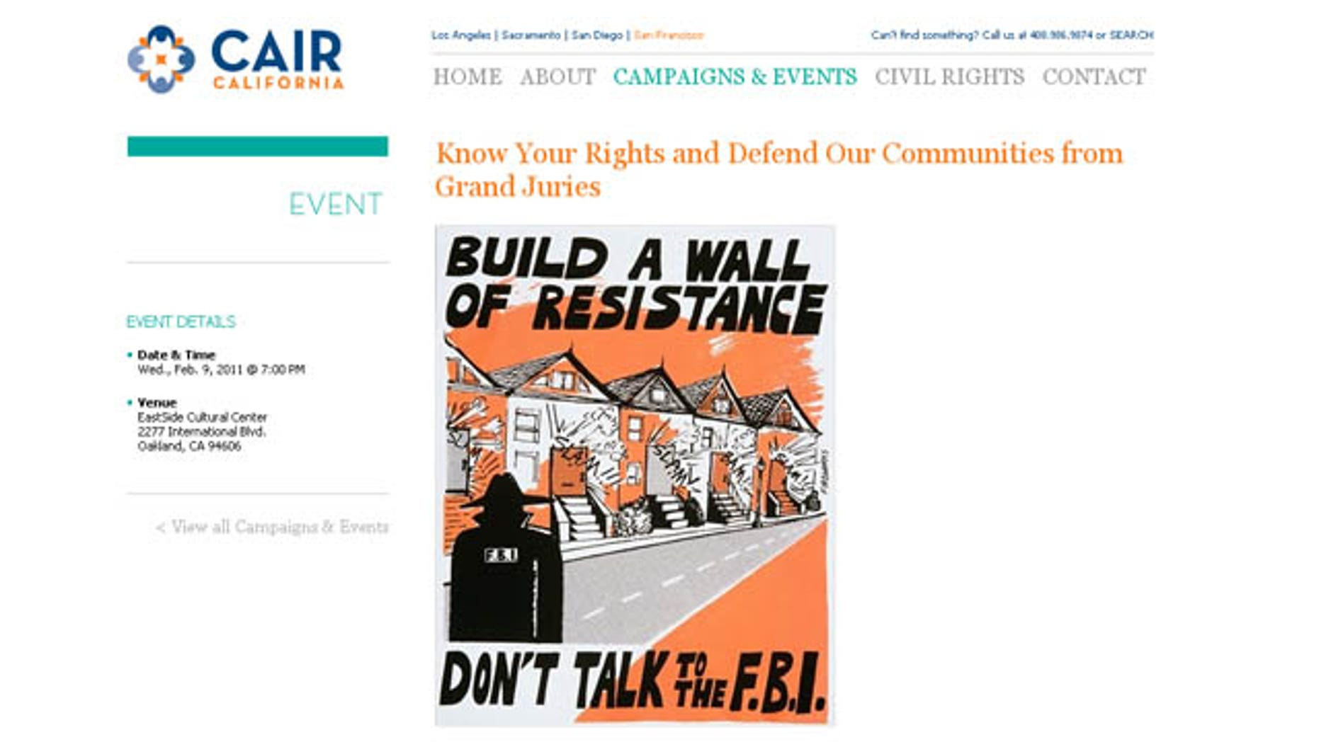 Image from the CAIR website that uses a poster encouraging people not the talk to the FBI to promote an upcoming conference.