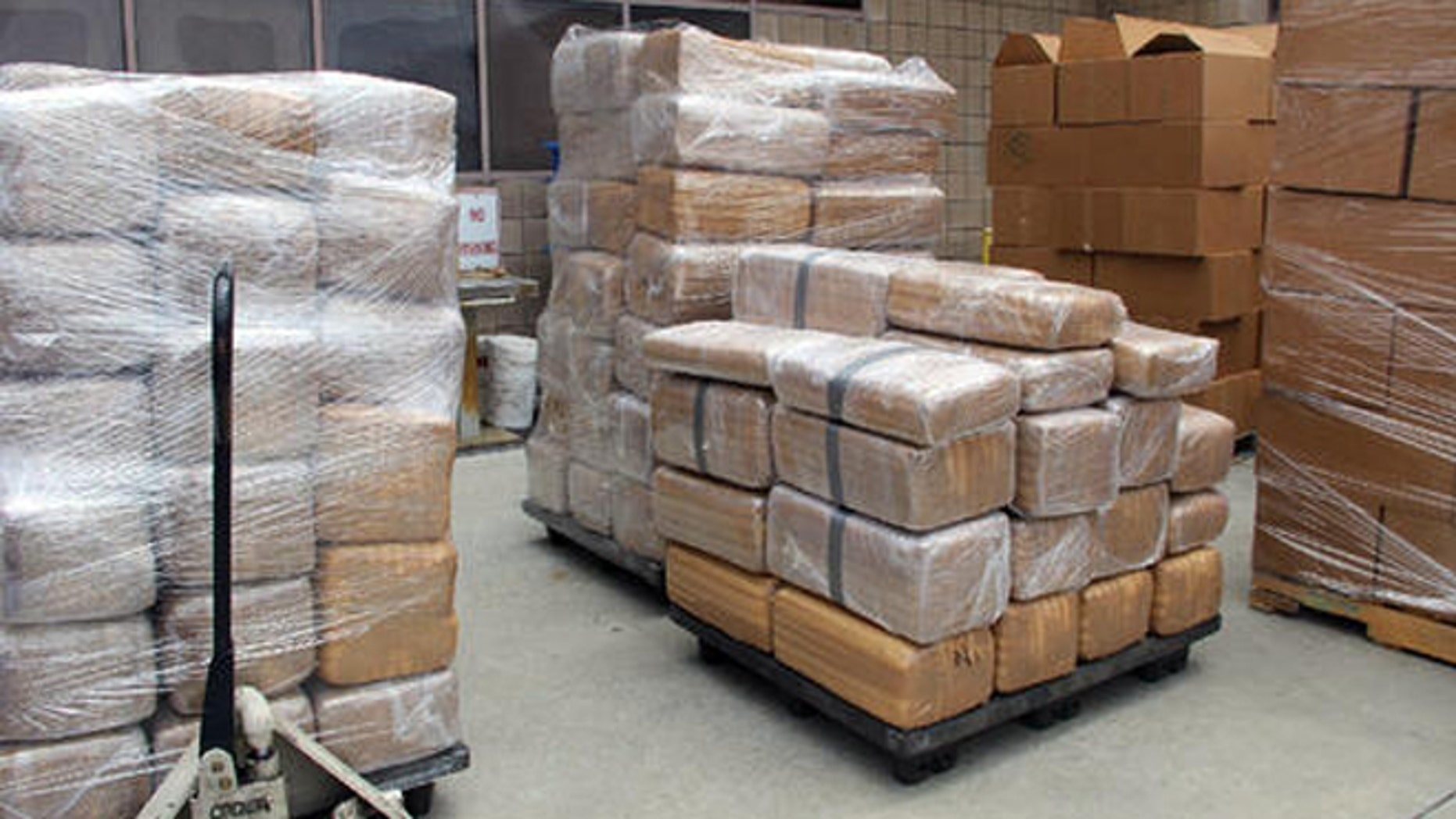 The feds seized seven tons of marijuana at the Otay Mesa border crossing cargo facility in San Diego Thursday. (U.S. Customs and Border Protection via AP)
