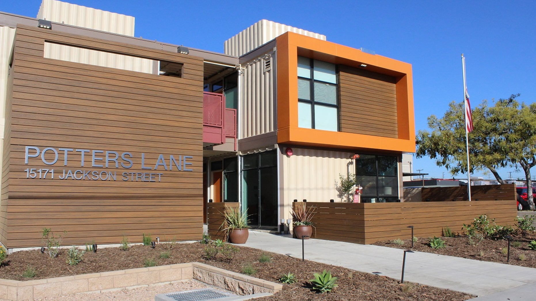 The Potter's Lane apartment complex, located in Middle City, Calif., houses homeless veterans. The complex is composed of recycled shipping containers.