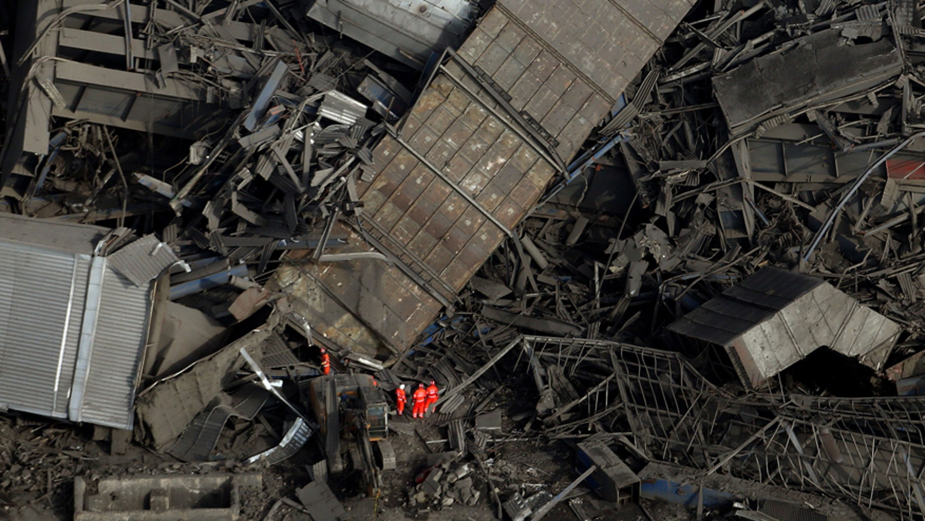 Feb. 24, 2016: An aerial view of the site after a building collapsed, at Didcot Power Station, in Oxfordshire, England.