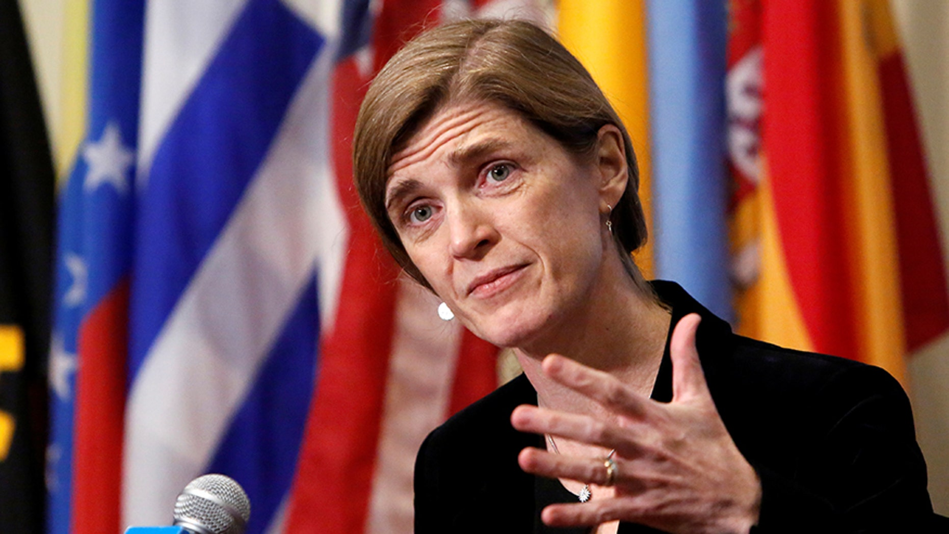 United States Ambassador to the United Nations Samantha Power addresses media following a United Nations Security Council vote,