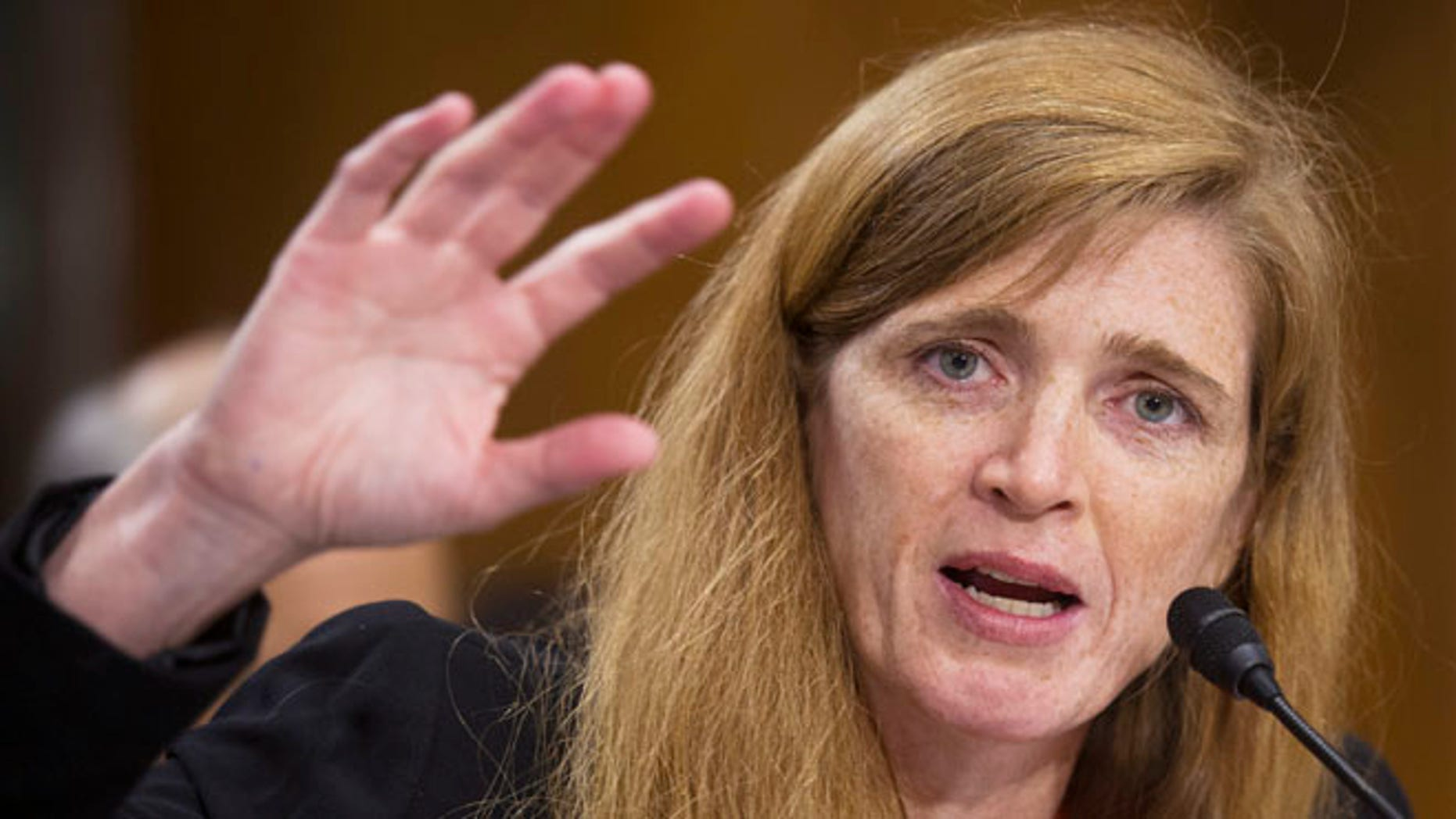 July 17, 2013: U.S. ambassador to the U.N. nominee Samantha Power testifies at her confirmation hearing before the Senate Foreign Relations Committee in Washington.