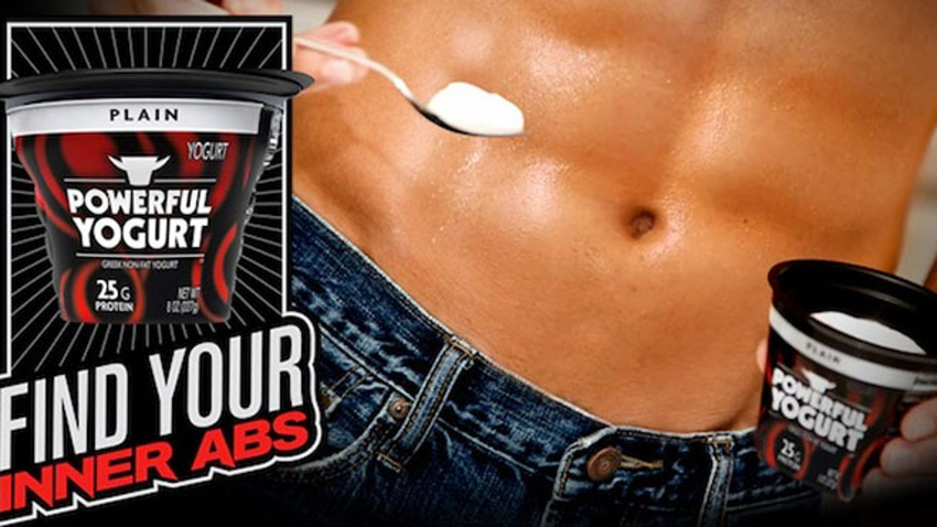 """Powerful Yogurt is a new Greek yogurt marketed specifically for men with a tagline, """"Find Your Inner Abs."""""""