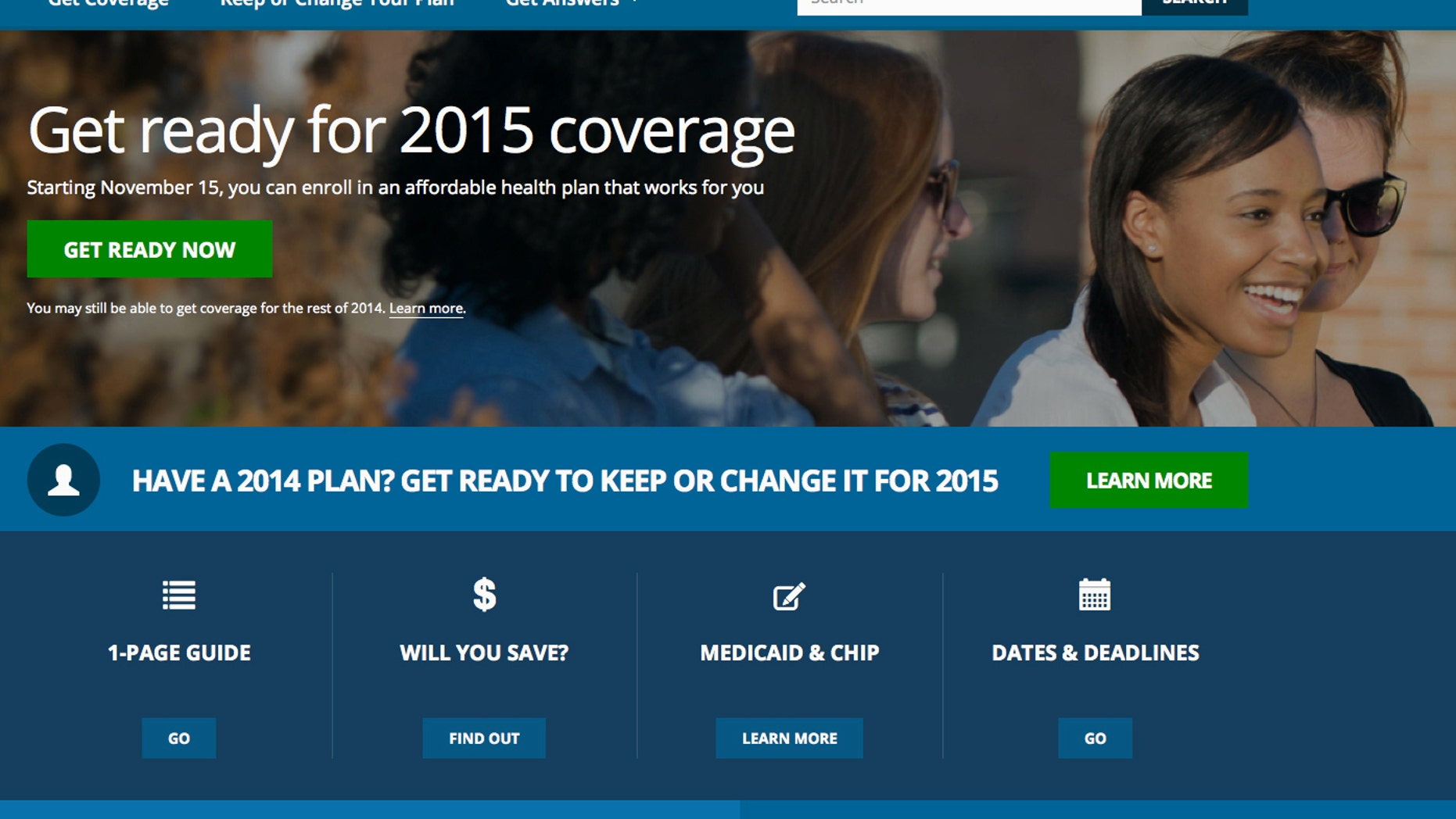 Oct. 15, 2014: Screen shot of the home page of HealthCare.gov, a federal government website managed by the U.S. Centers for Medicare & Medicaid Service.