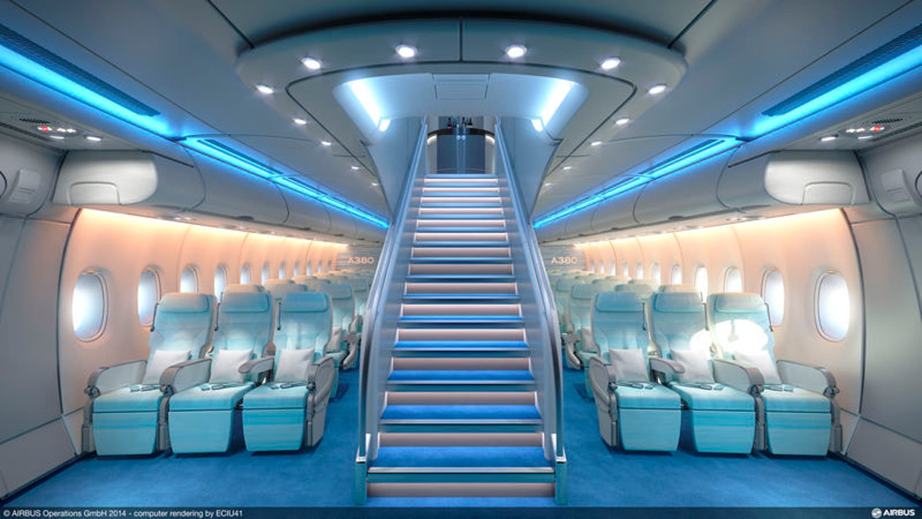 Airbus A380's economy class can seat six passengers per row.