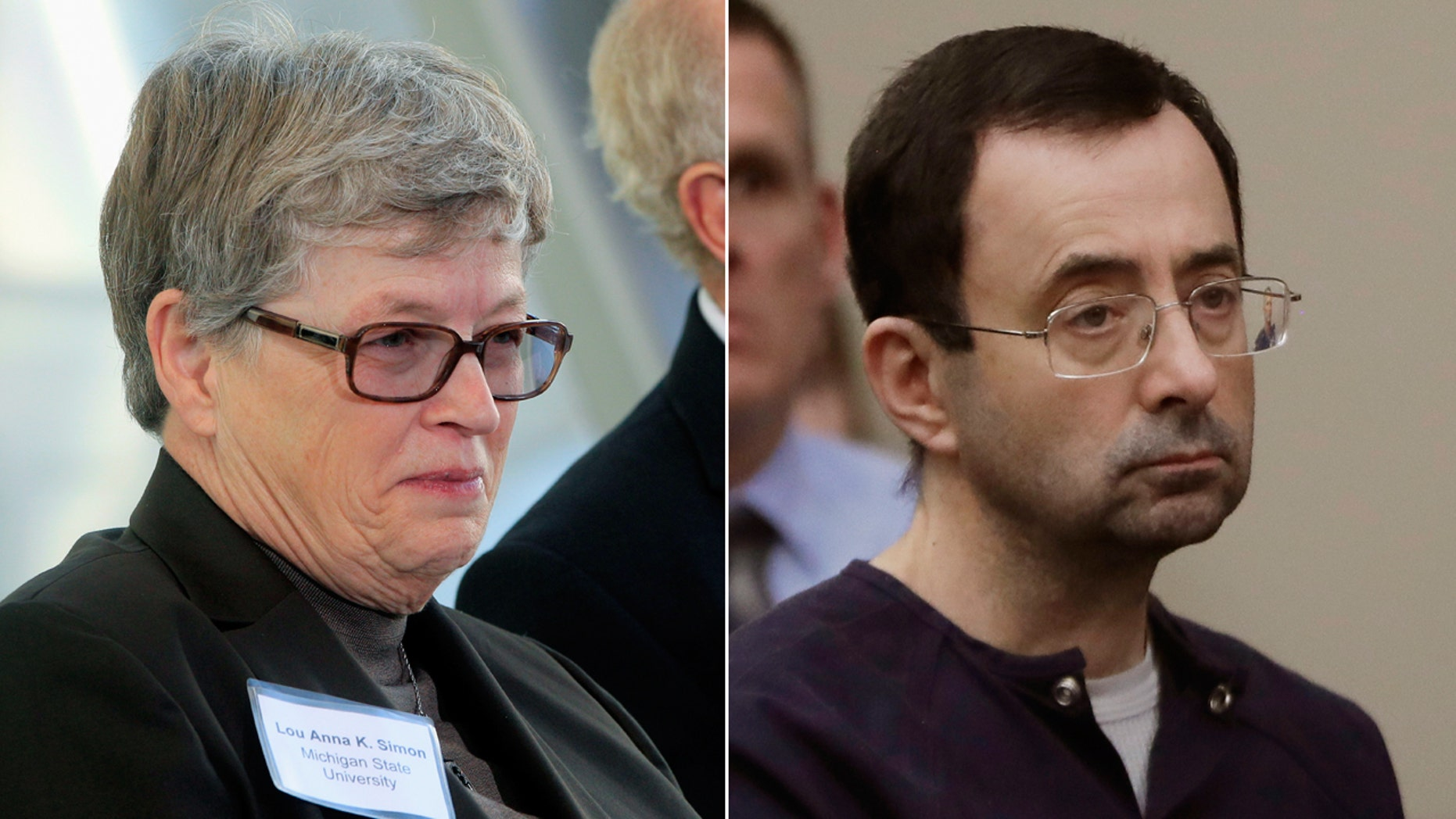 Lou Anna Simon, left, and Larry Nassar