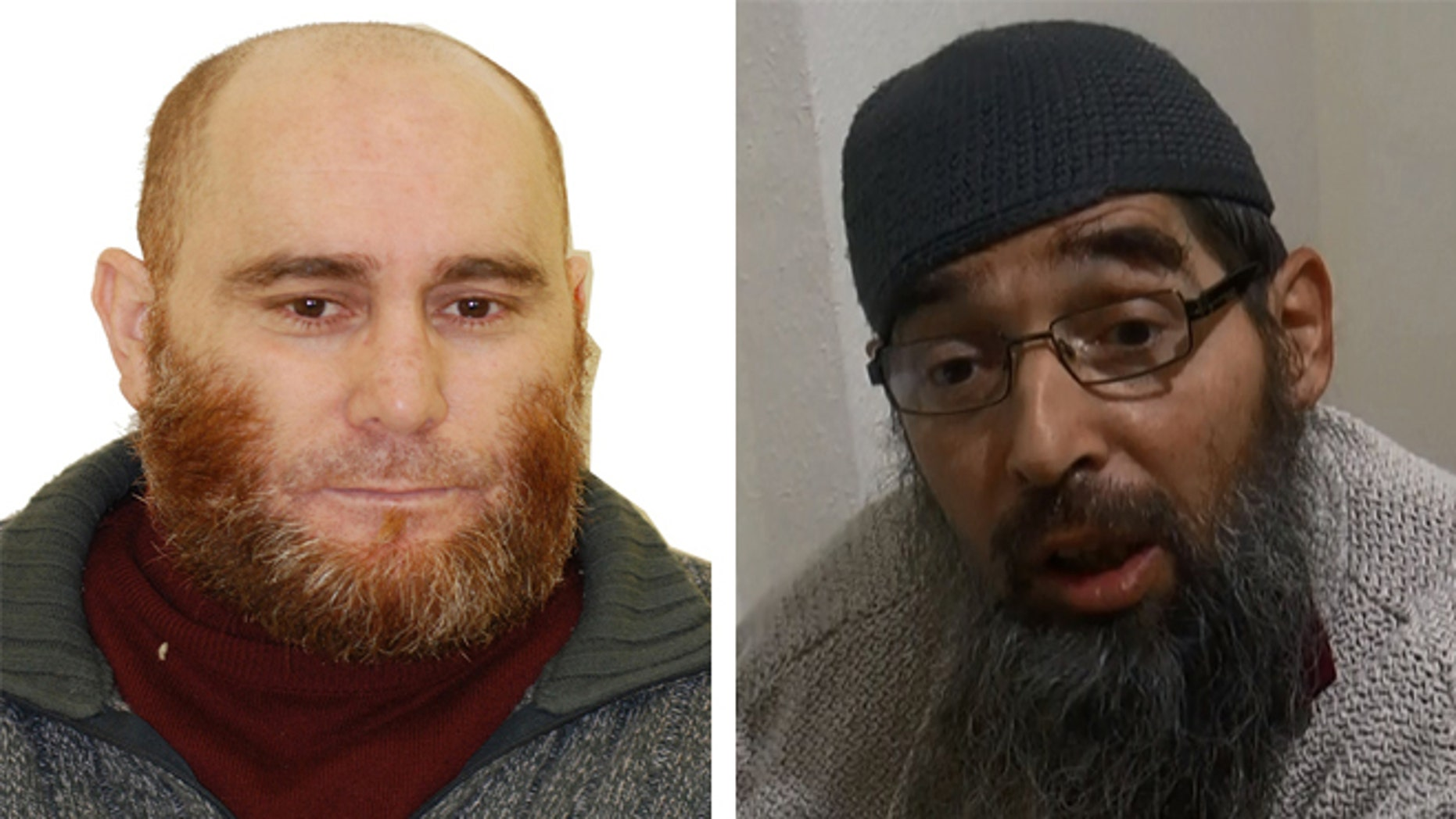 Unnamed inmate of Moroccan origin, left, and Belgium-born Mustafa Maya Amaya.