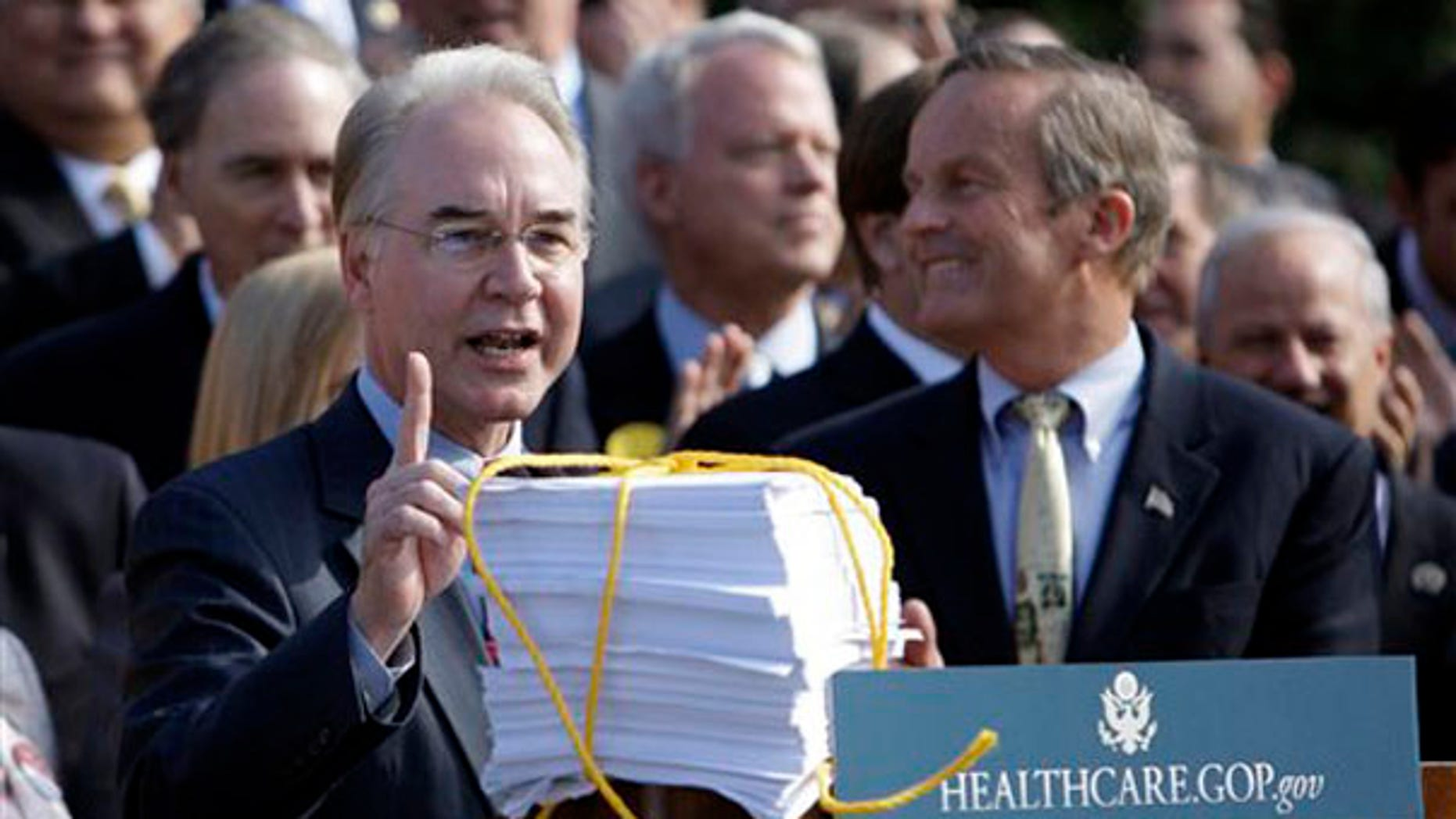 Rep. Tom Price, R-Ga., left, and others, attend a Republican news conference on health care Nov. 5. (AP Photo)