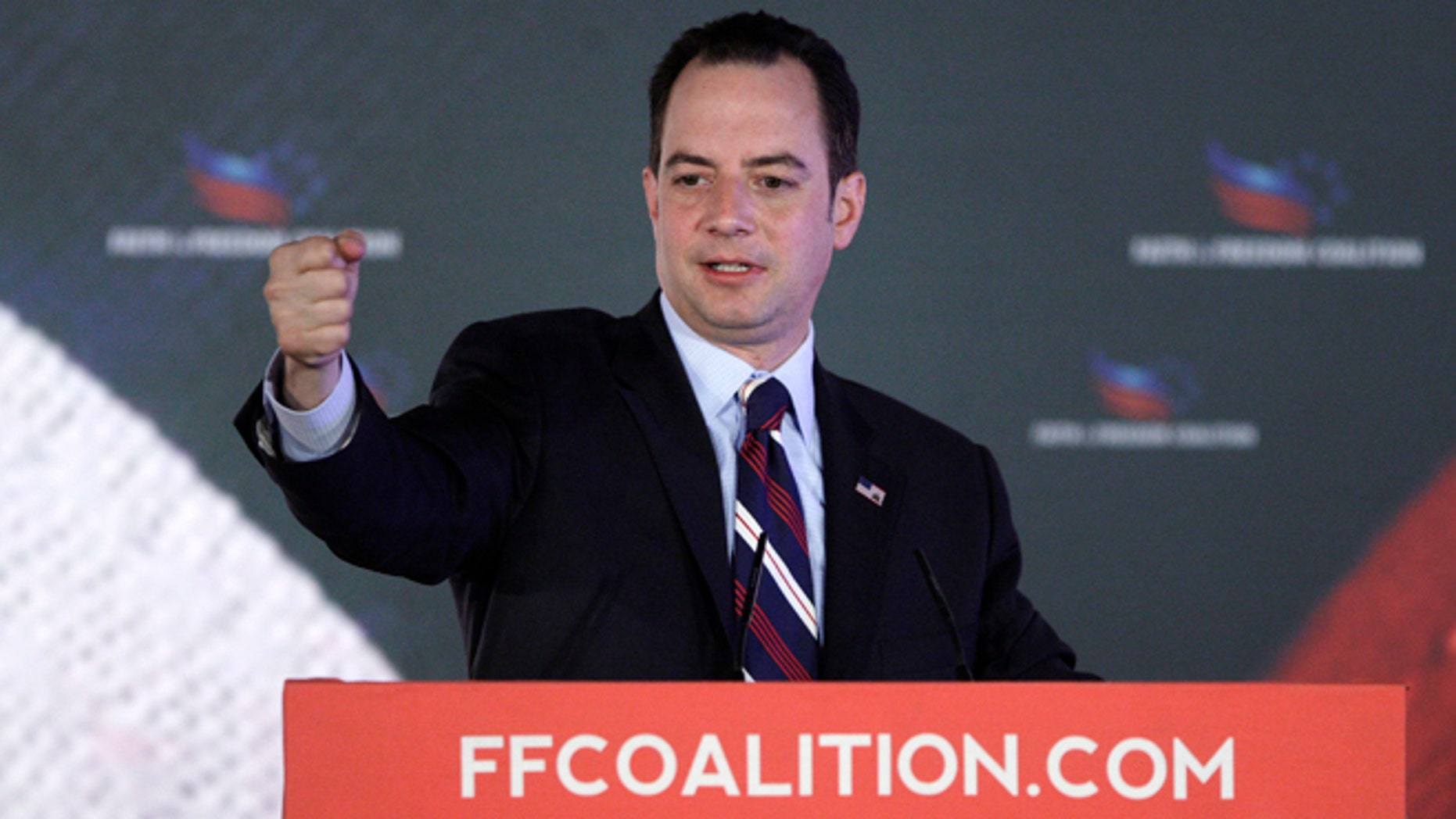 """June 15, 2013: Republican National Committee Chairman Reince Priebus addresses the Faith and Freedom Coalition """"Road to Majority"""" conference in Washington."""
