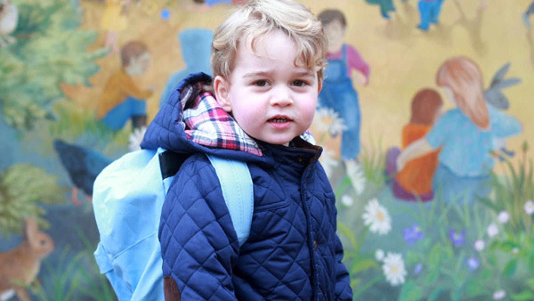 Jan. 6, 2016: In this handout photograph provided by Kensington Palace, taken by Kate, The Duchess of Cambridge, Britain's Prince George poses on his first day at the Westacre Montessori nursery school near Sandringham in Norfolk, England.