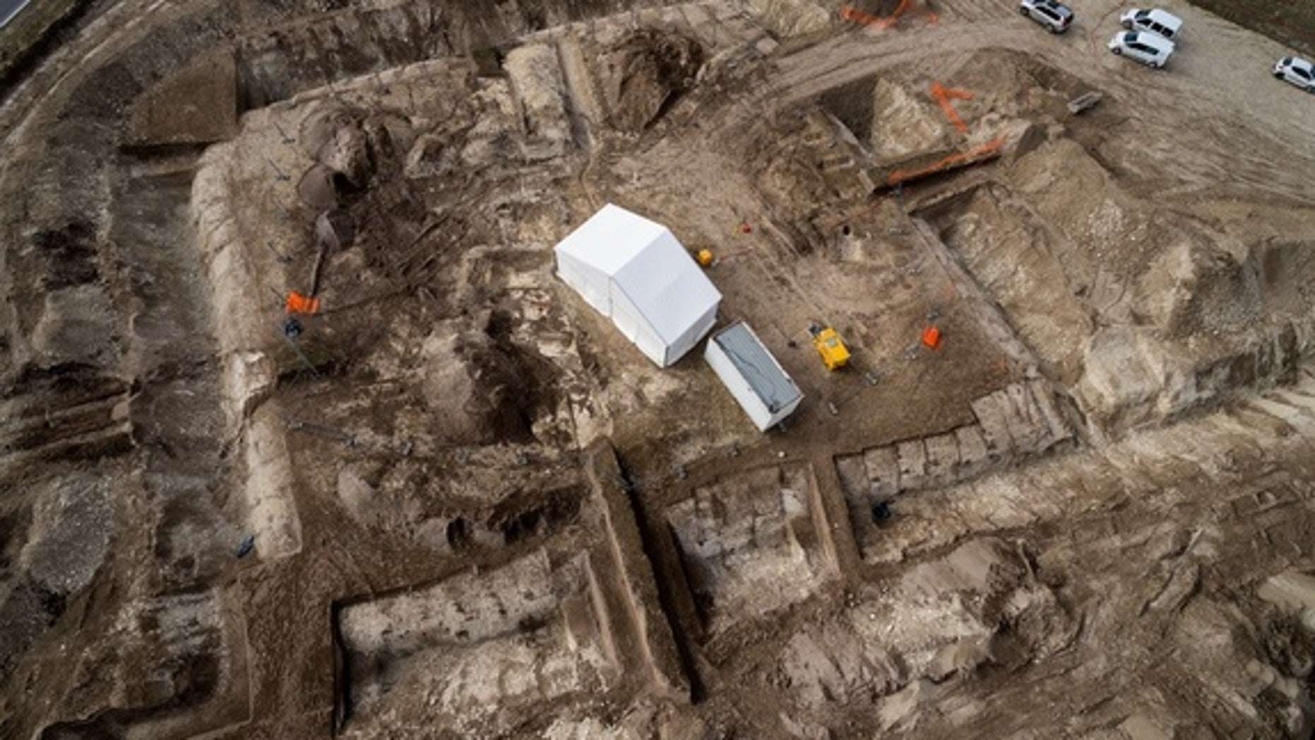 This aerial view shows the funerary complex where archaeologists discovered a Celtic prince's tomb dating to the fifth century B.C.