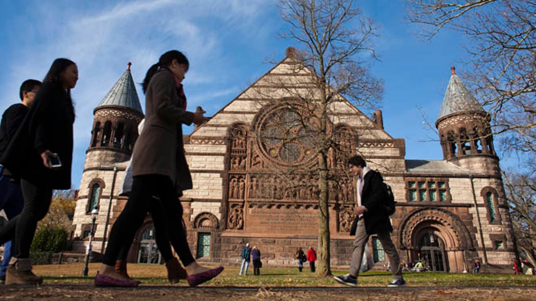 Students walk around on Princeton University's campus in New Jersey.