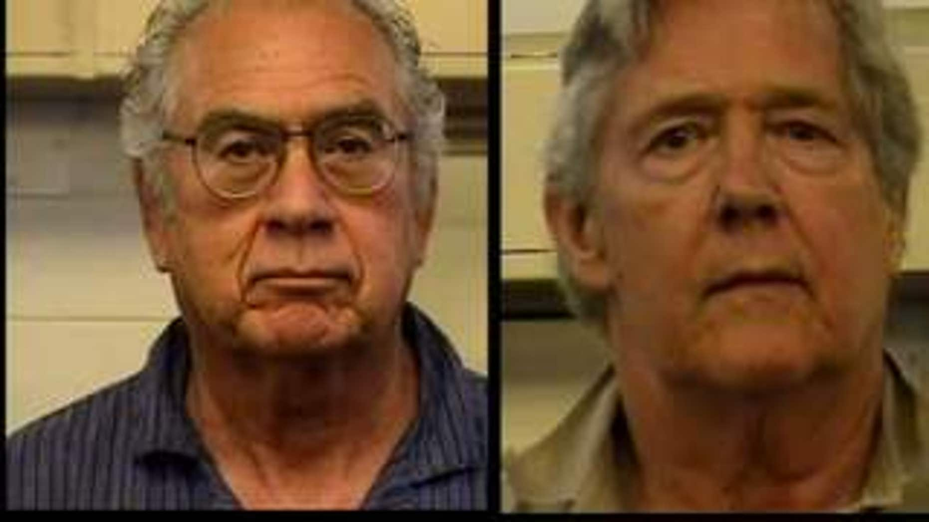 Former University of New Mexico Interim President F. Chris Garcia (l.) and retired New Jersey professor David Flory were arrested for their involvement in an online brothel - where prostitutes and johns never actually hooked up. (AP)
