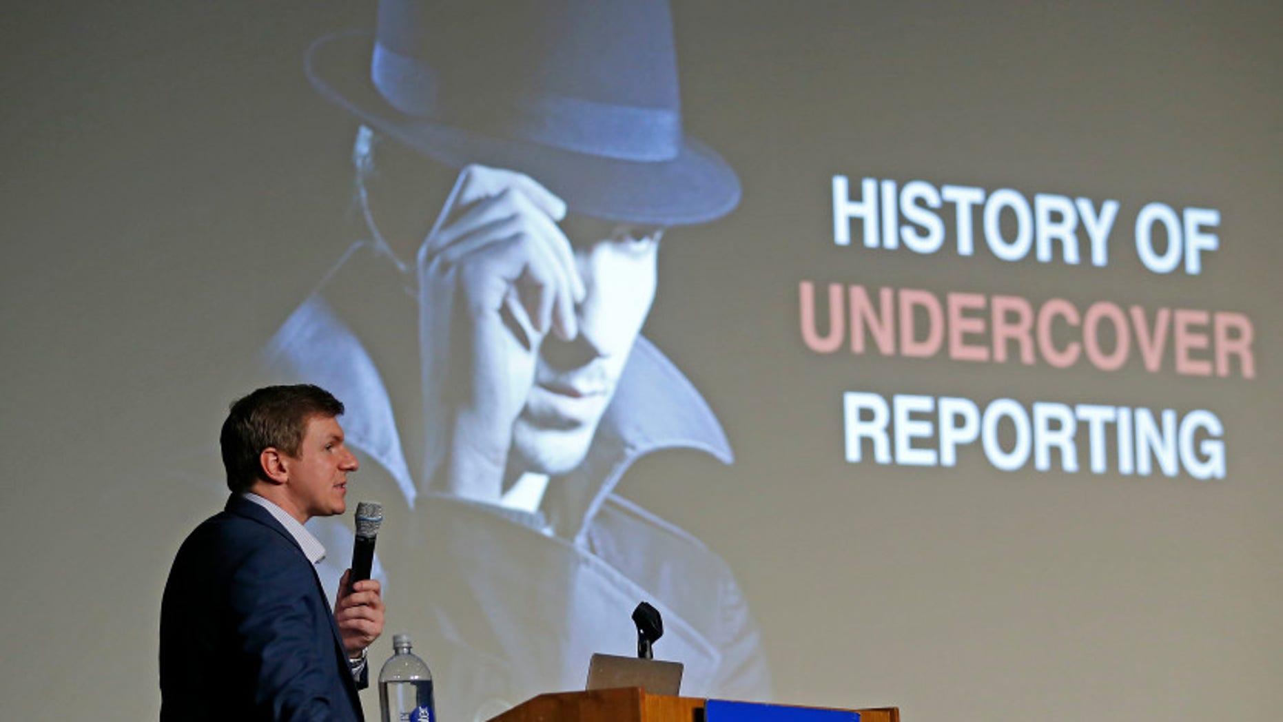 James O'Keefe, of Project Veritas, speaks at Southern Methodist University in Dallas, Nov. 29, 2017.