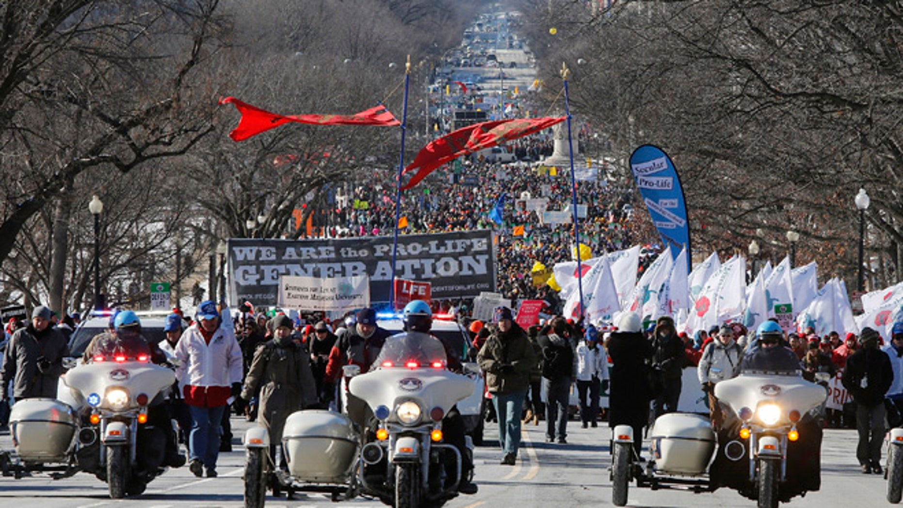 Jan 22. 2014: Anti-abortion demonstrators participate in the annual March for Life in Washington. (Reuters)