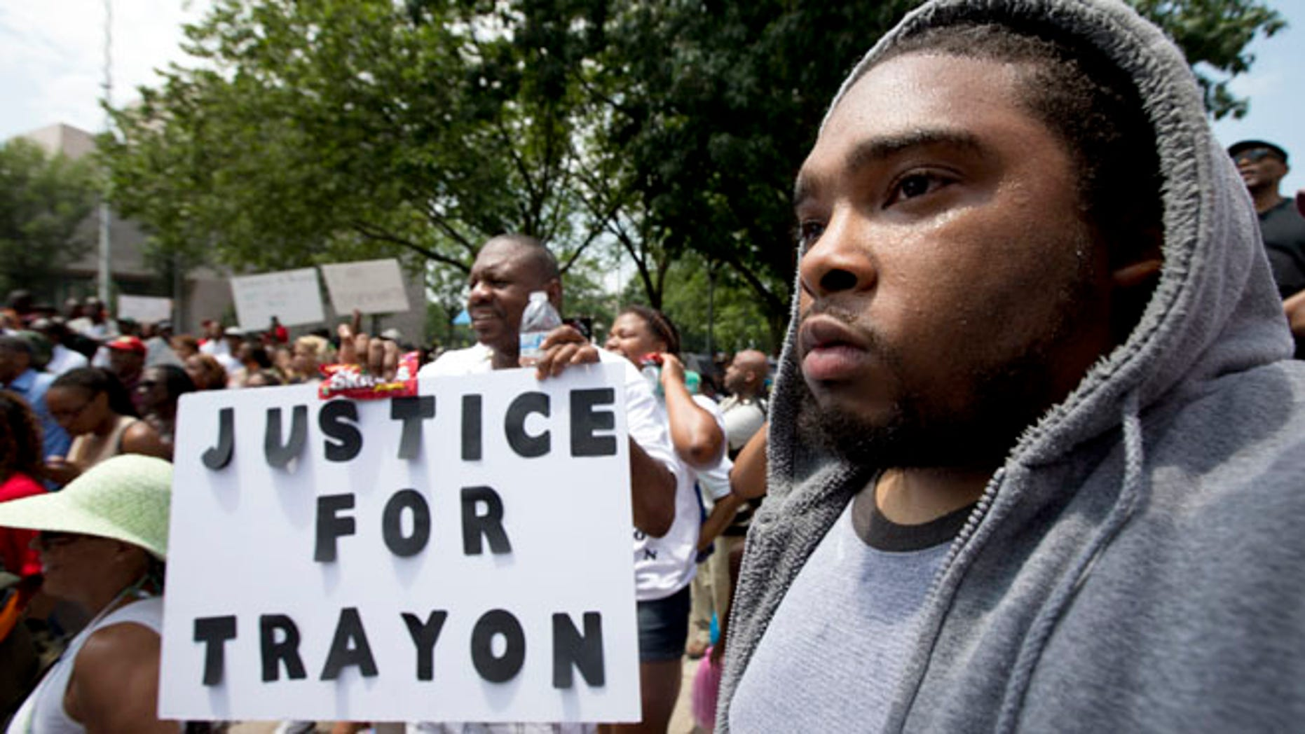July 20, 2013: Protesters demonstrate over the George Zimmerman verdict in front of a federal courthouse in Washington.