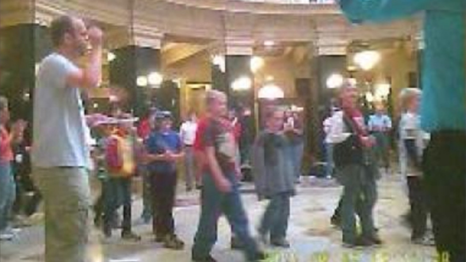 Shown here is a protest at the Wisconsin Capitol in late September. Visiting students were allowed to participate.