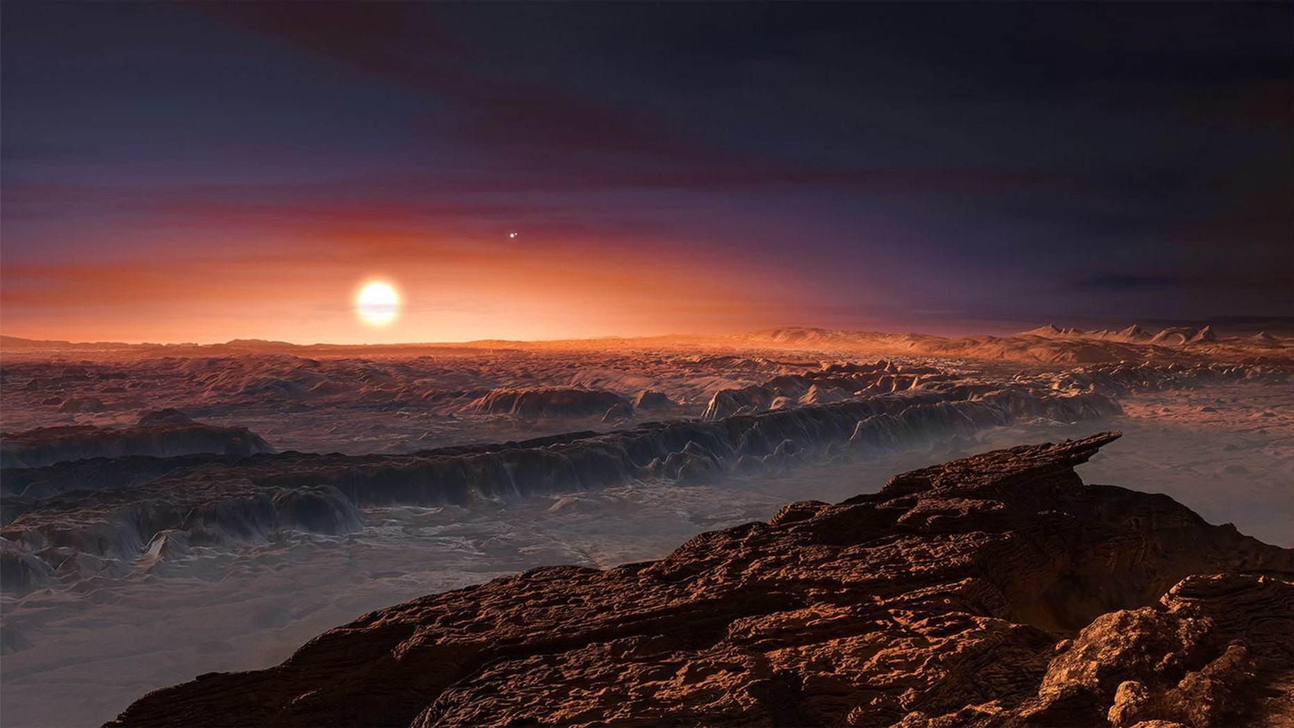 An artist's impression of the view from Proxima Centarui b, a newly discovered Earth-sized planet just four light-years away. It is unclear if there is intelligent life in the universe, but searches continue to find Earth-sized planets in the habitable zones of their respective stars. (Credit: NASA)