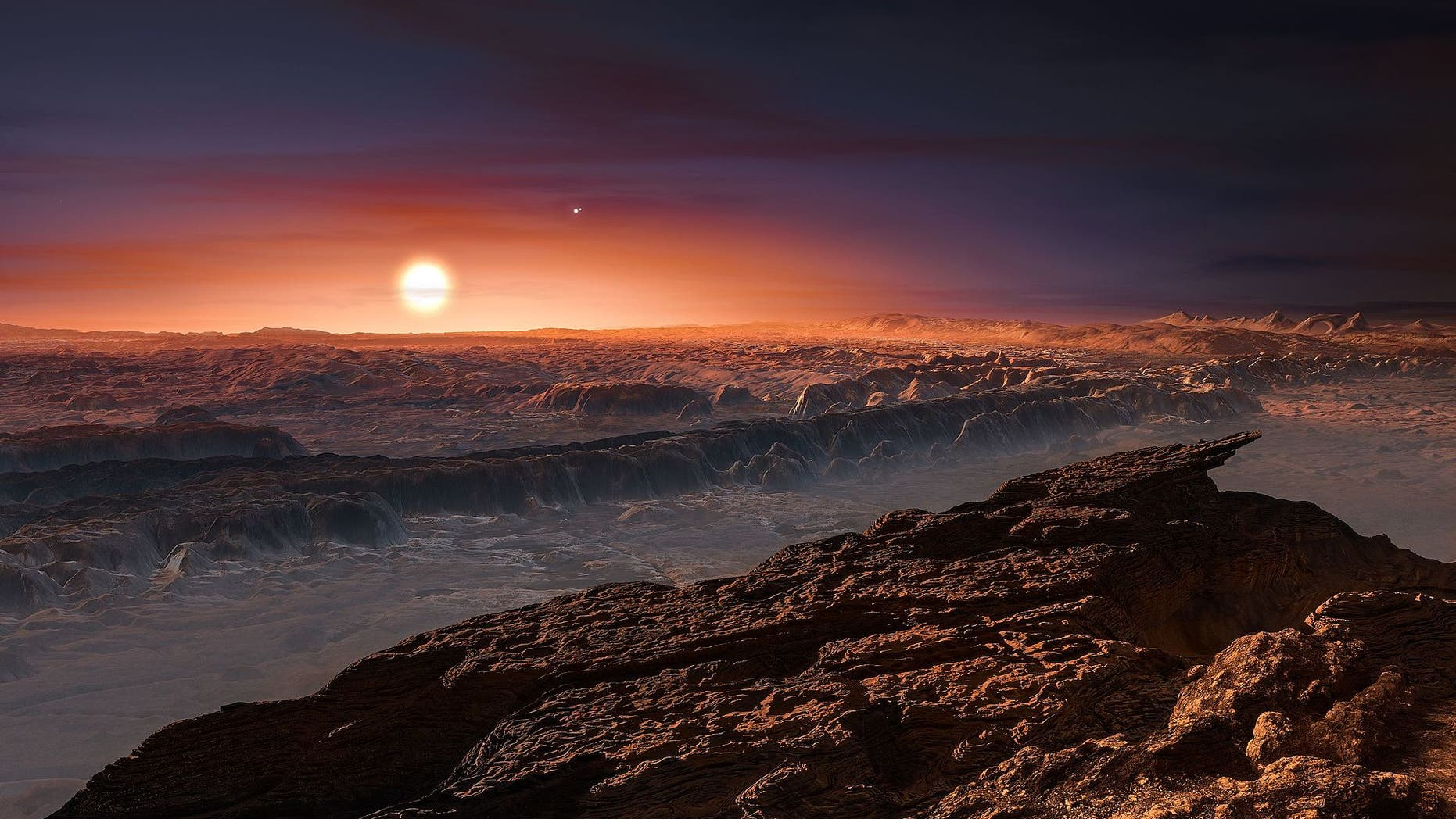 An artist's illustration of the surface of Proxima b, a roughly Earth-size world that orbits the nearby red dwarf star Proxima Centauri.