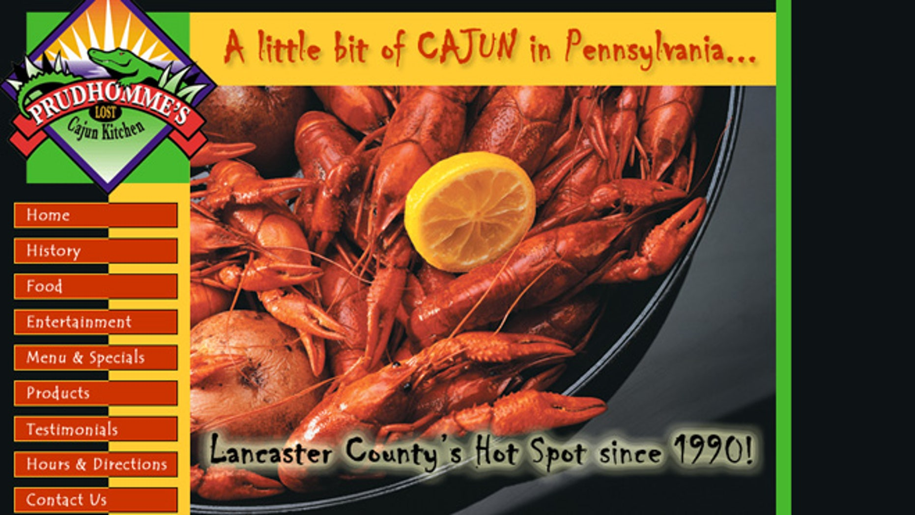 Screen grab of the website for Prudhomme's Lost Cajun Kitchen.