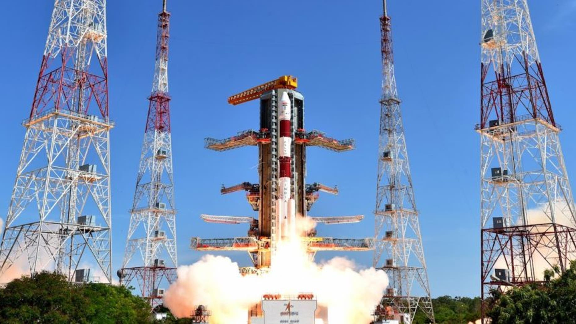 An Indian Polar Satellite Launch Vehicle (PSLV) lifts off in June. TeamIndus has purchased a PSLV launch in late 2017 for its Google Lunar X Prize Lander.