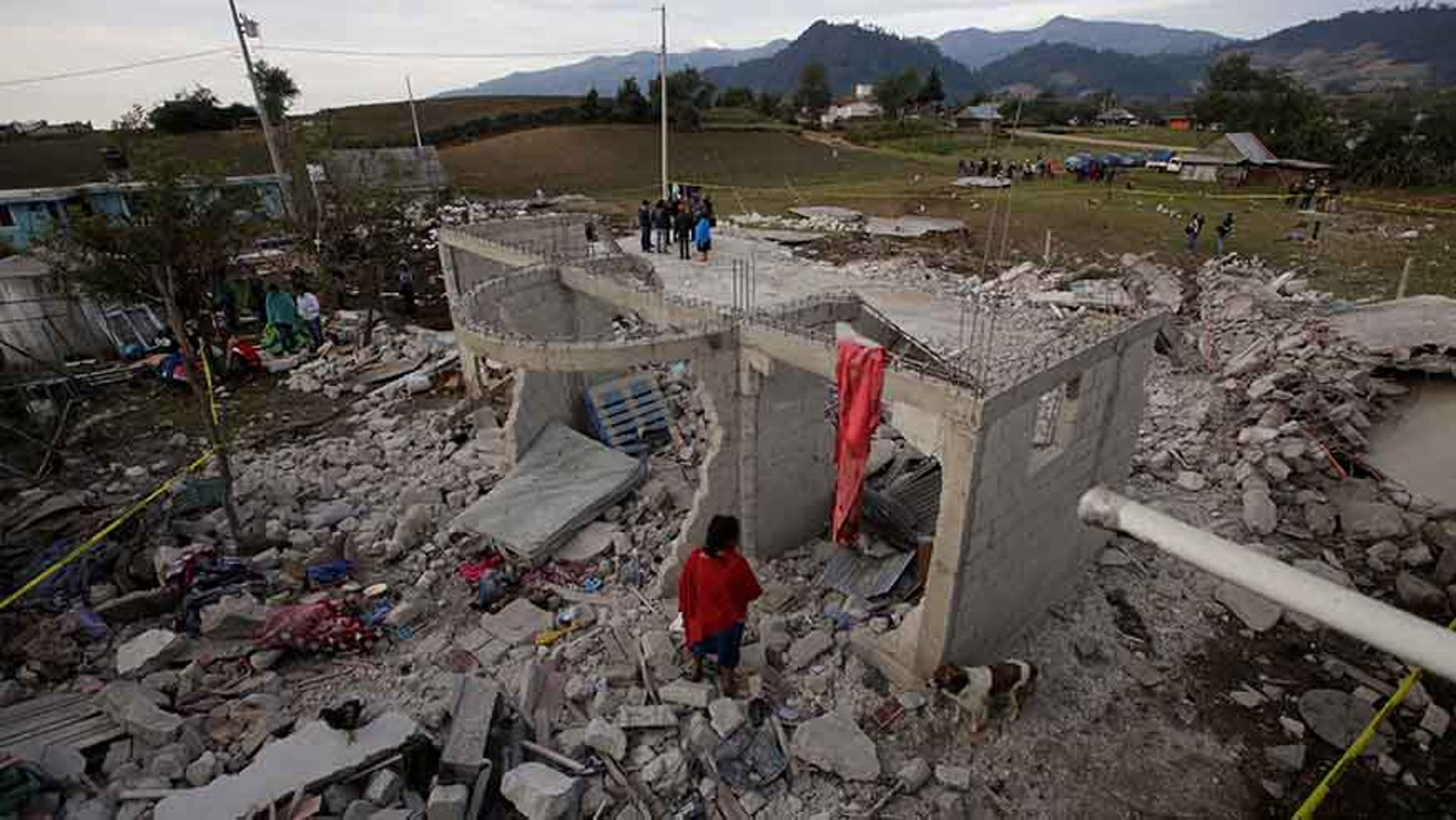 Scene after fireworks stored in a house exploded in San Isidro, Chilchotla, Mexico, May 9, 2017
