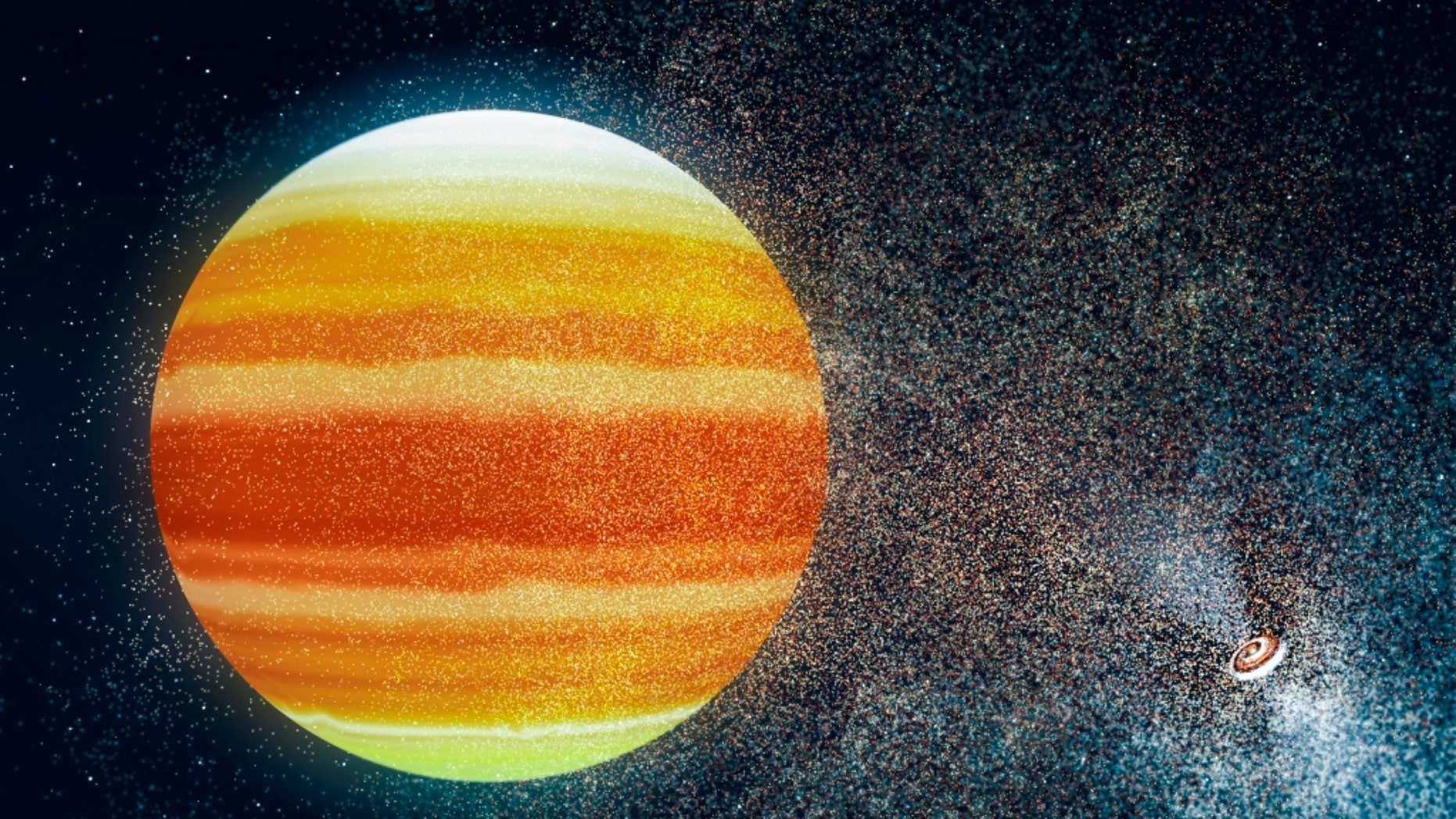 Artistic impression of a habitable planet (center) near a pulsar (right). Such a planet must have an enormous atmosphere that converts the deadly X-rays and high-energy particles of the pulsar into heat.