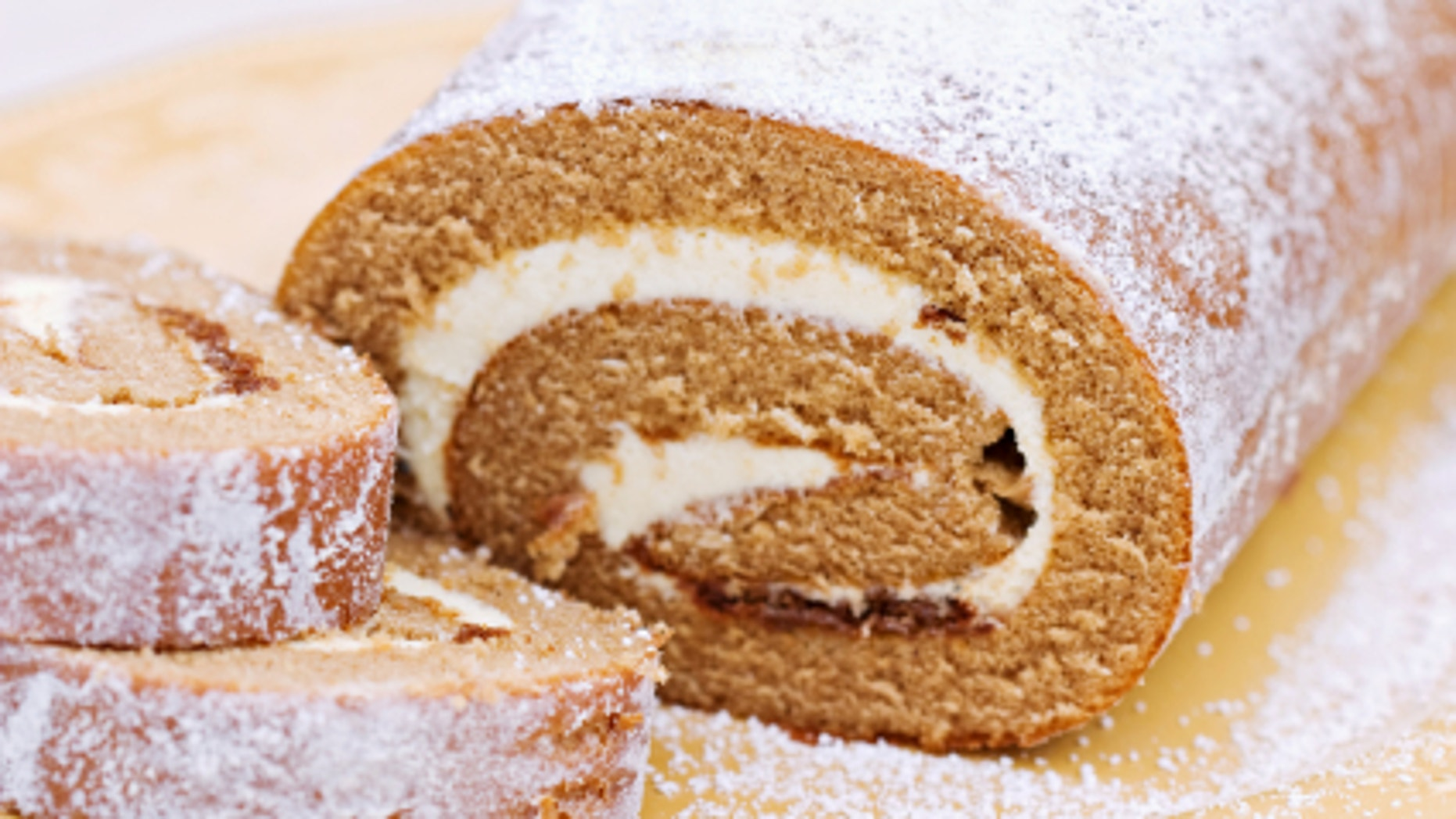 Delicious Pumpkin Roll sprinkled with powdered sugar.