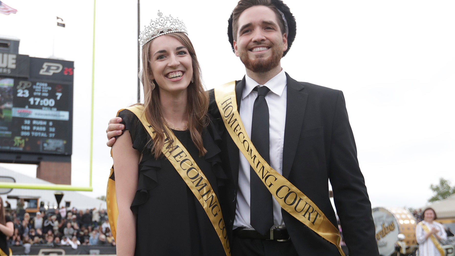 """Lily Bishop and Grant Wood are honored as Purdue University's homecoming """"royalty"""" after the West Lafayette, Ind., school scrapped the titles of king and queen, Sept., 22, 2018."""