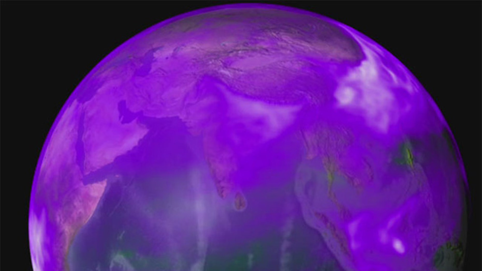 New research shows how winds push thick clouds of black carbon (shown in purple and white) and dust toward the base of the Himalayas where they accumulate, rise and drive a heat pump that affects the region's climate.